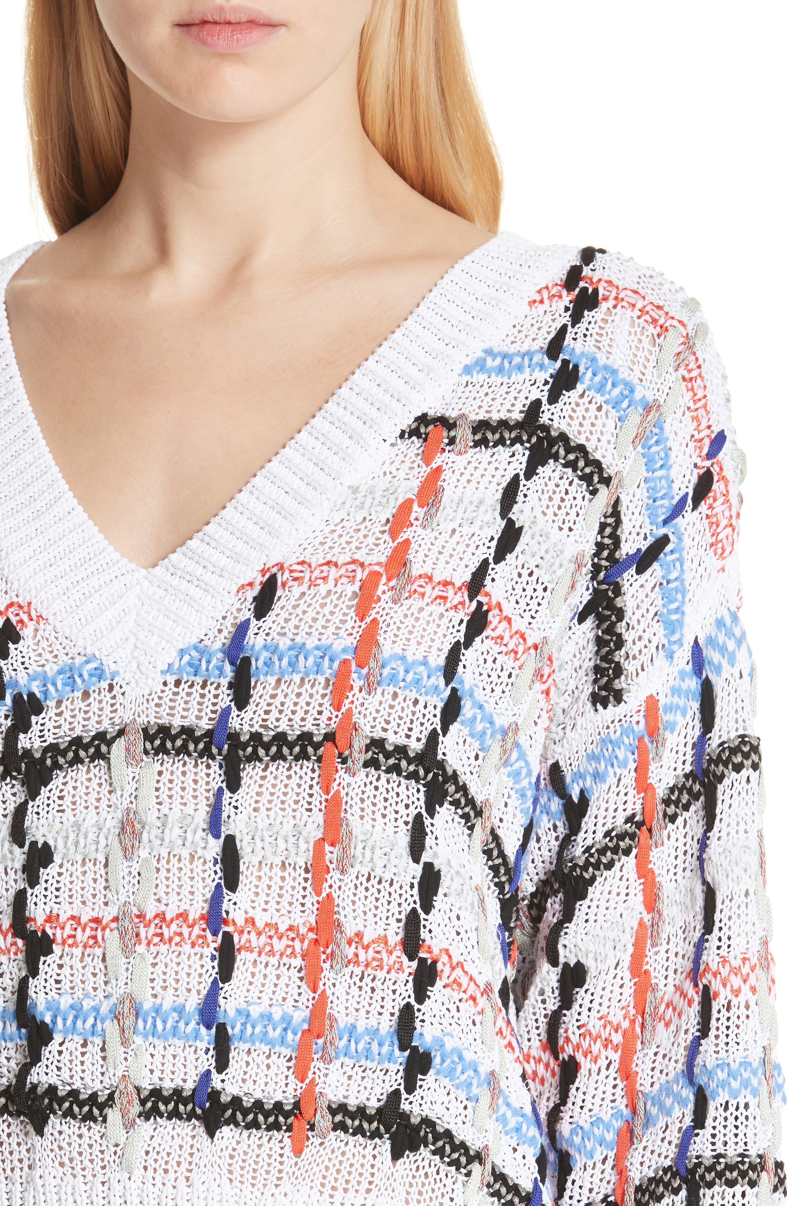 Lloyd Ribbon Detail Plaid Sweater,                             Alternate thumbnail 4, color,                             White