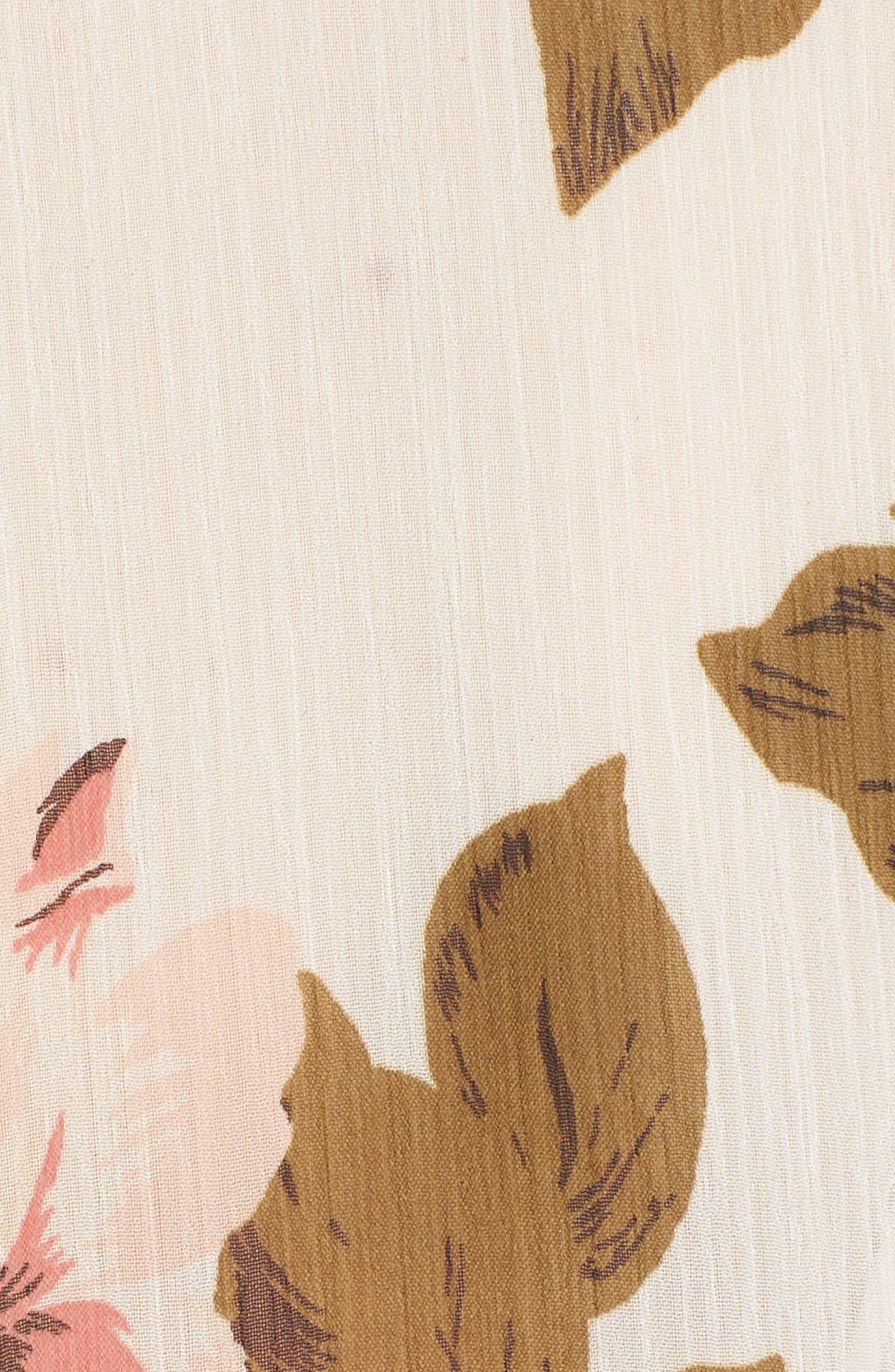 Tie Sleeve Kimono,                             Alternate thumbnail 6, color,                             Ivory Rose Print