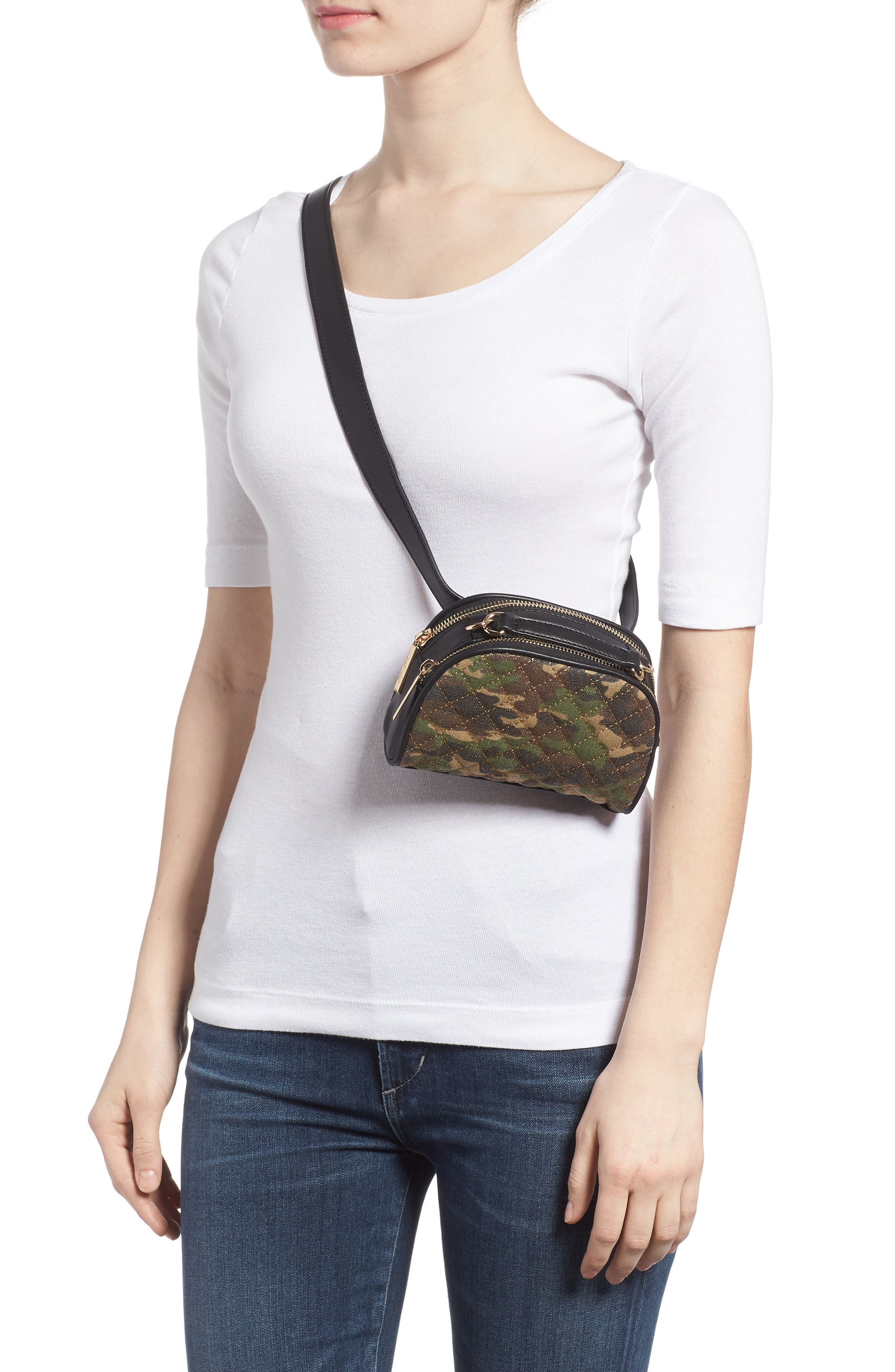 Mali + Lili Quilted Camouflage Belt Bag,                             Alternate thumbnail 3, color,                             Camouflage