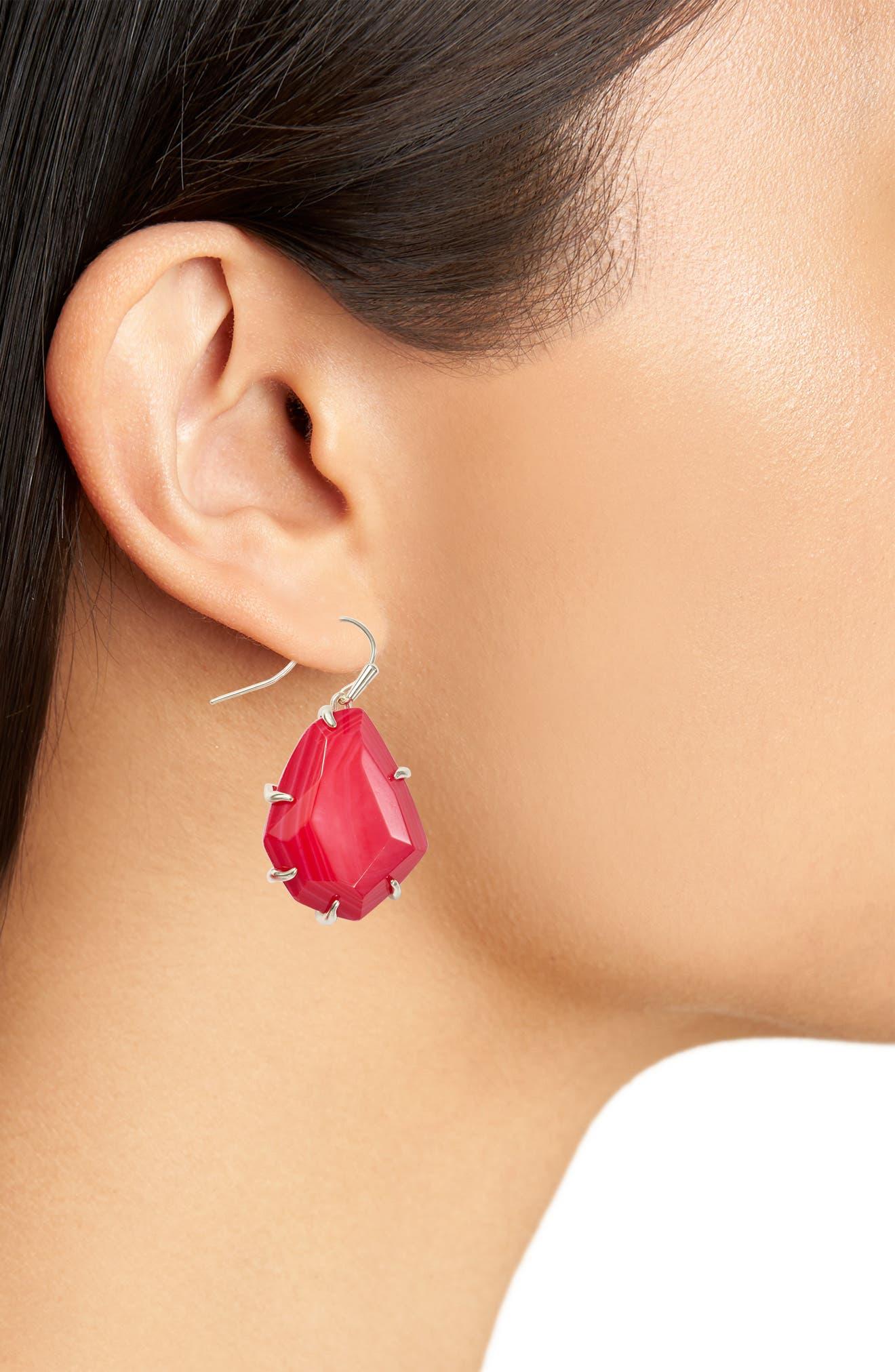 Rosenell Stone Earrings,                             Alternate thumbnail 2, color,                             Red Mop/ Gold