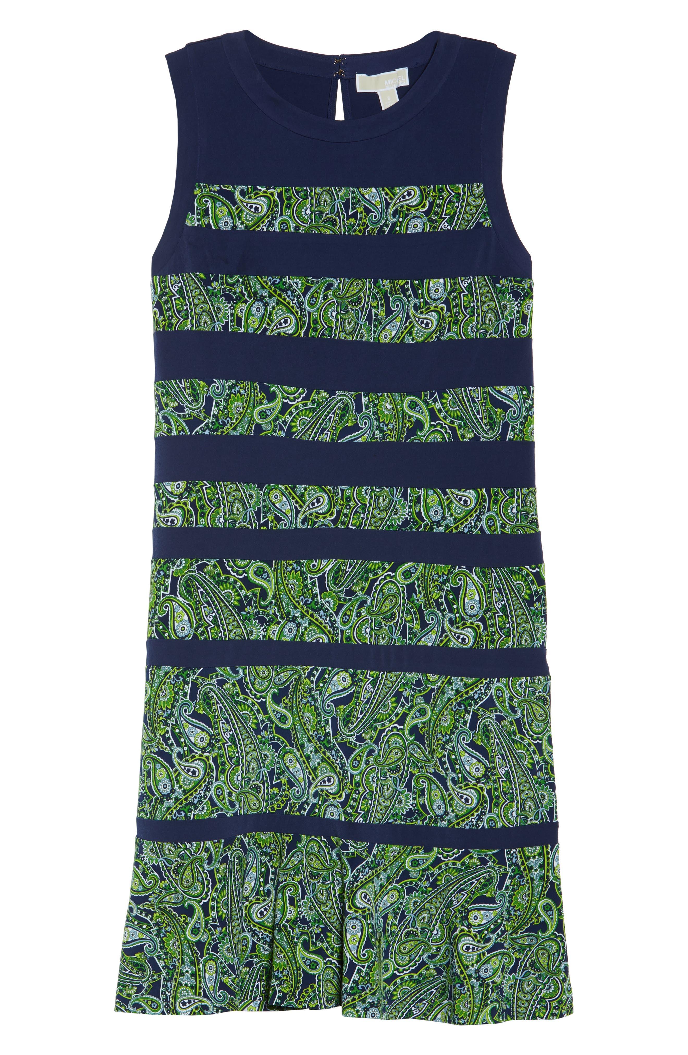 Paisley Paneled Dress,                             Alternate thumbnail 6, color,                             True Navy/ Green Apple Mu