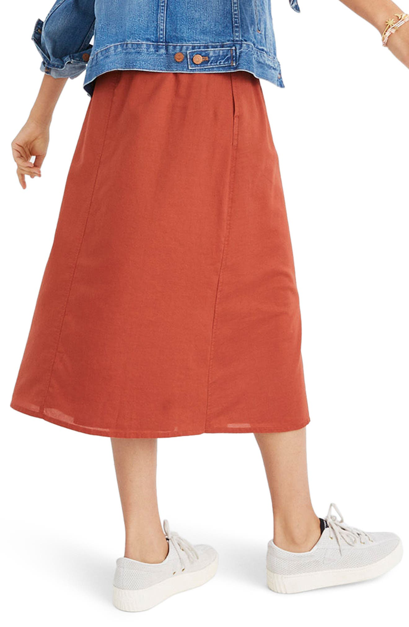 Palisade Button Front Midi Skirt,                             Alternate thumbnail 2, color,                             Rusty Torch
