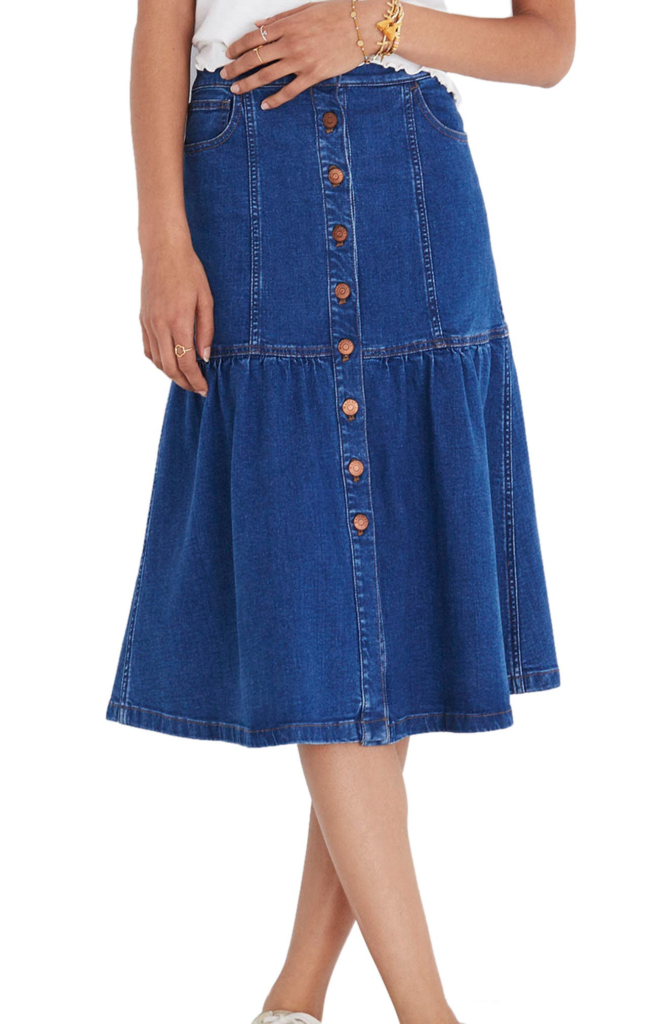 Bayview Tiered Denim Midi Skirt,                             Main thumbnail 1, color,                             Winona Wash