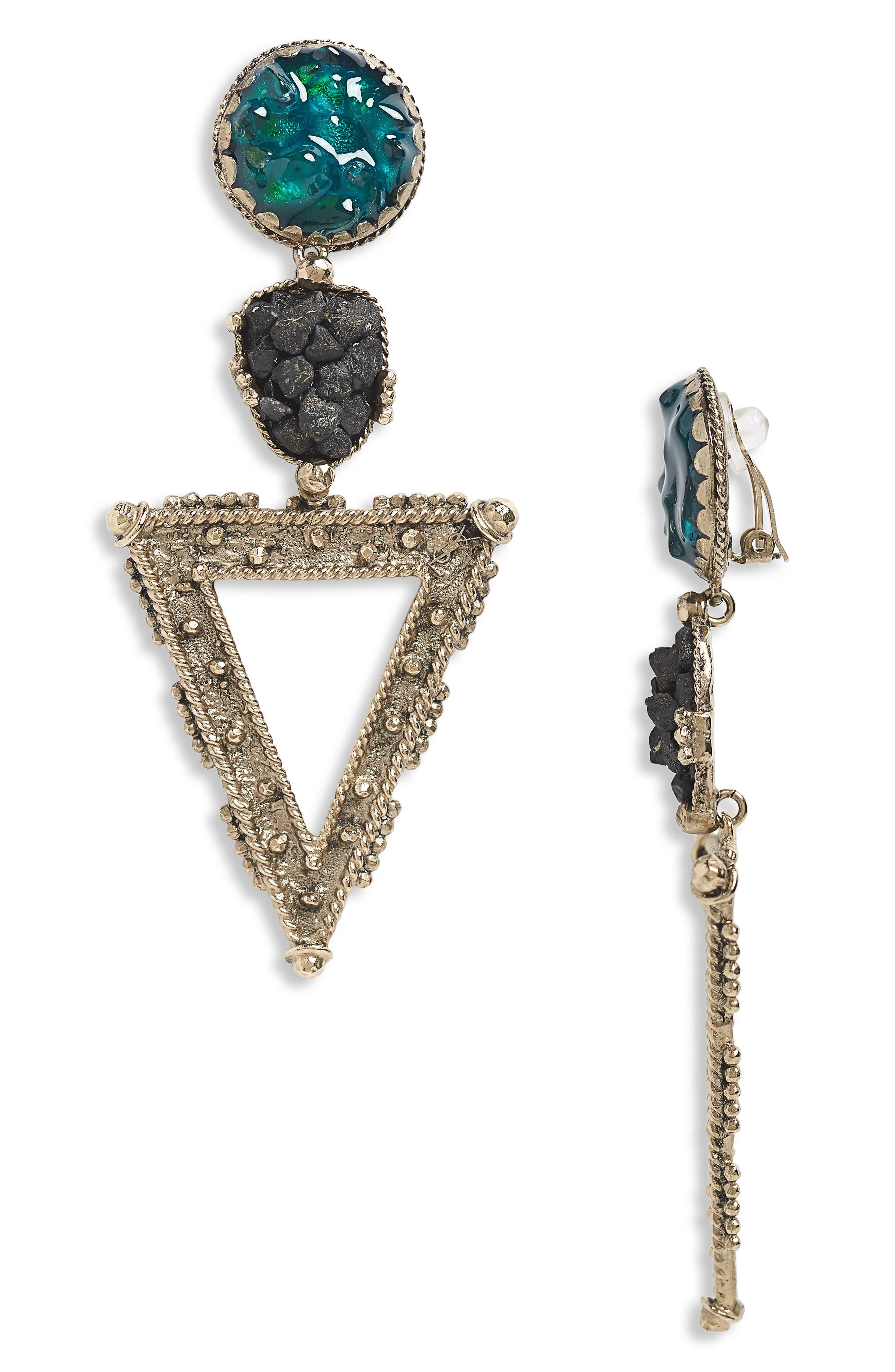 Triangle Clip-On Earrings,                         Main,                         color, Spaniel