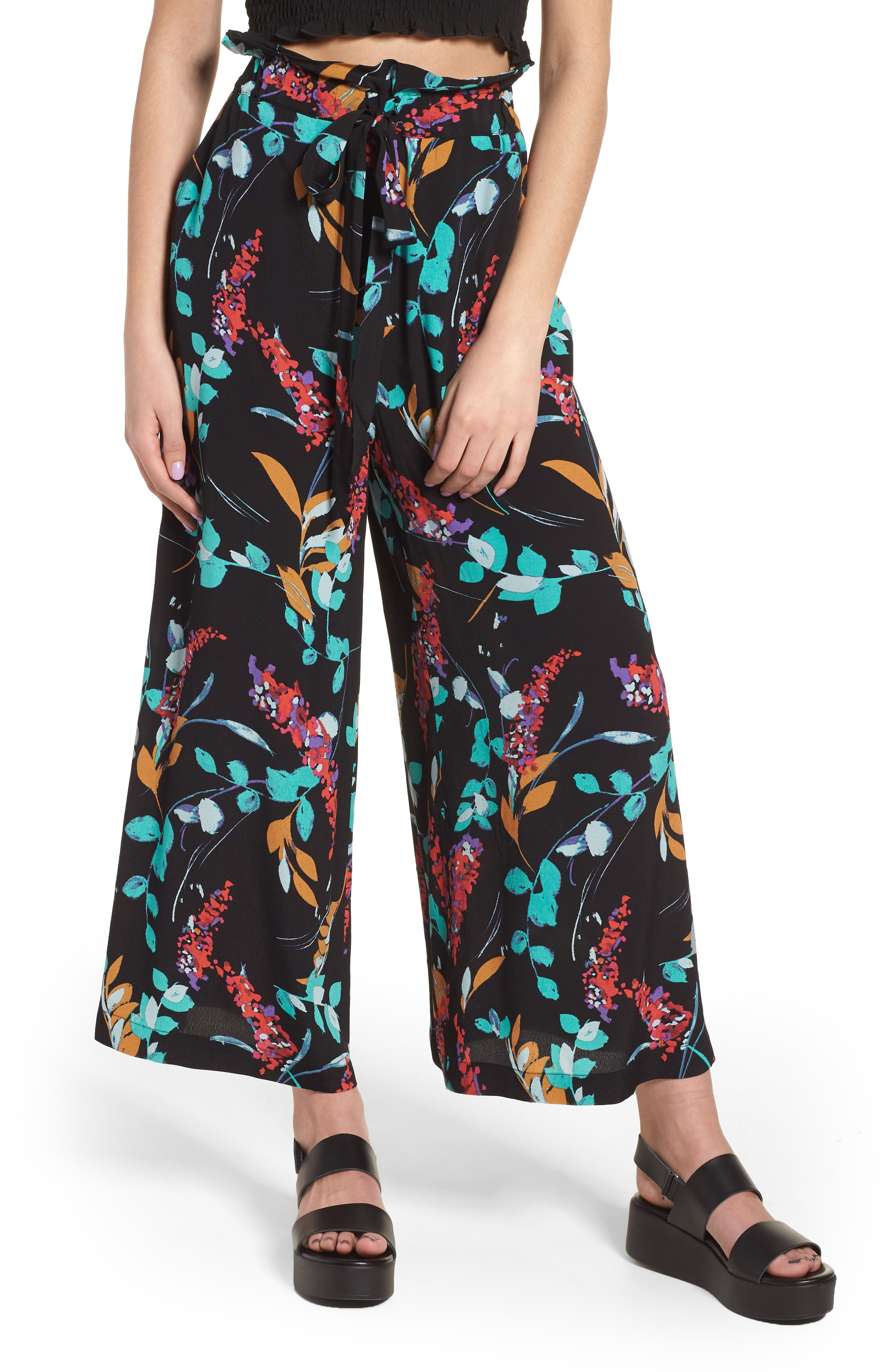 BP. Floral Paperbag Waist Pants