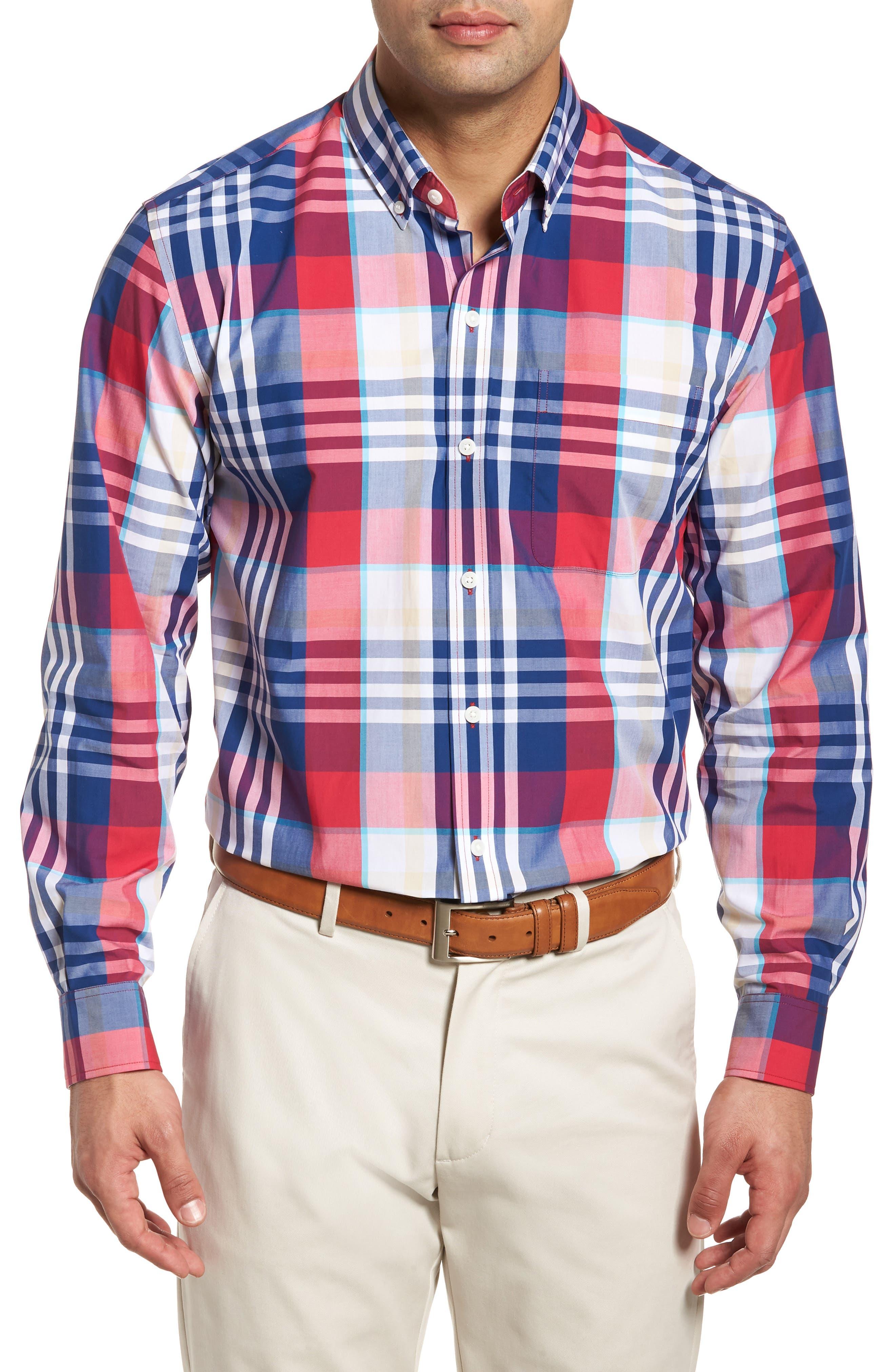 Cooper Classic Fit Non-Iron Plaid Sport Shirt,                         Main,                         color, Virtual