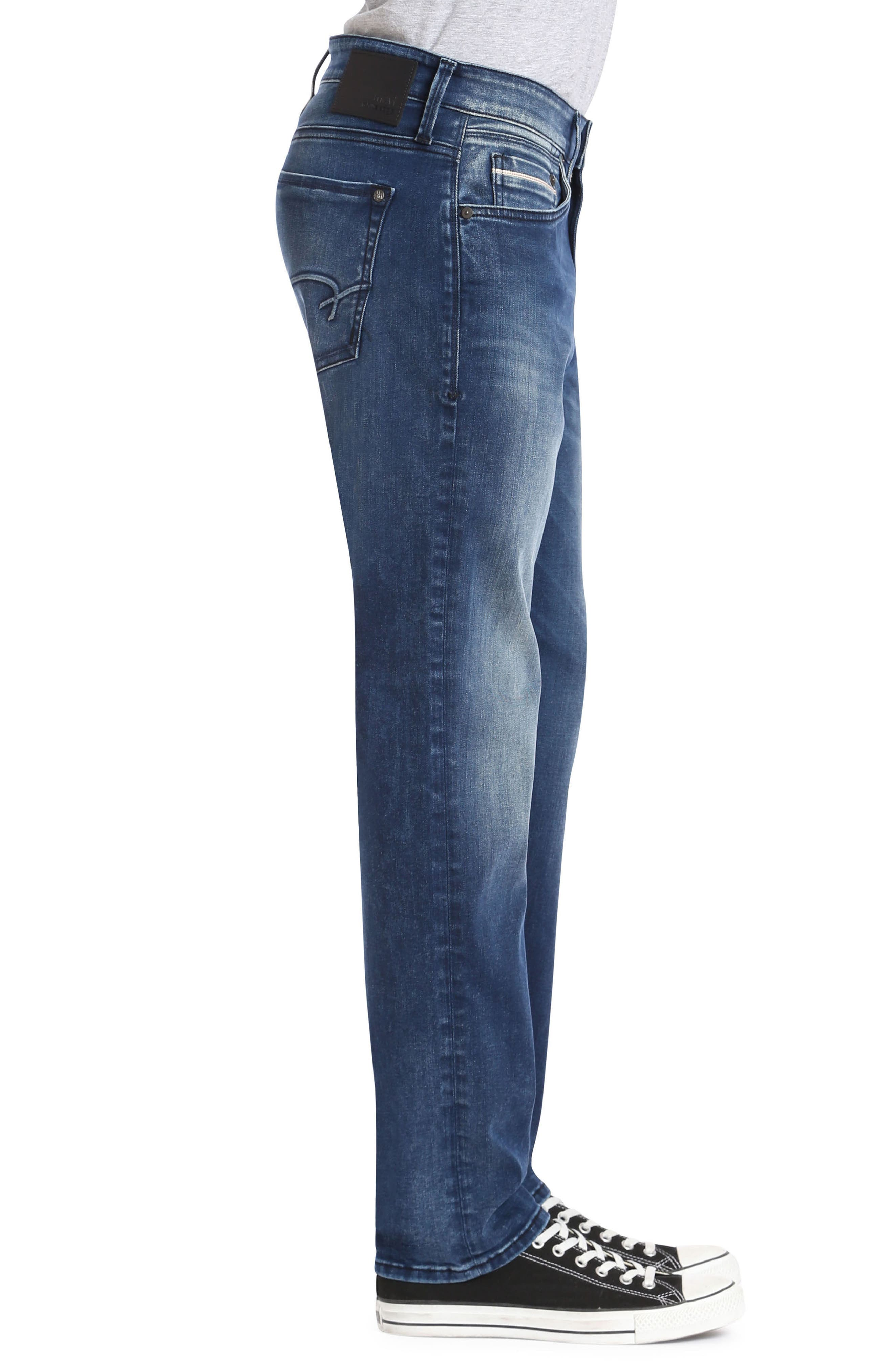 Marcus Slim Straight Leg Jeans,                             Alternate thumbnail 3, color,                             Forest Blue White Edge