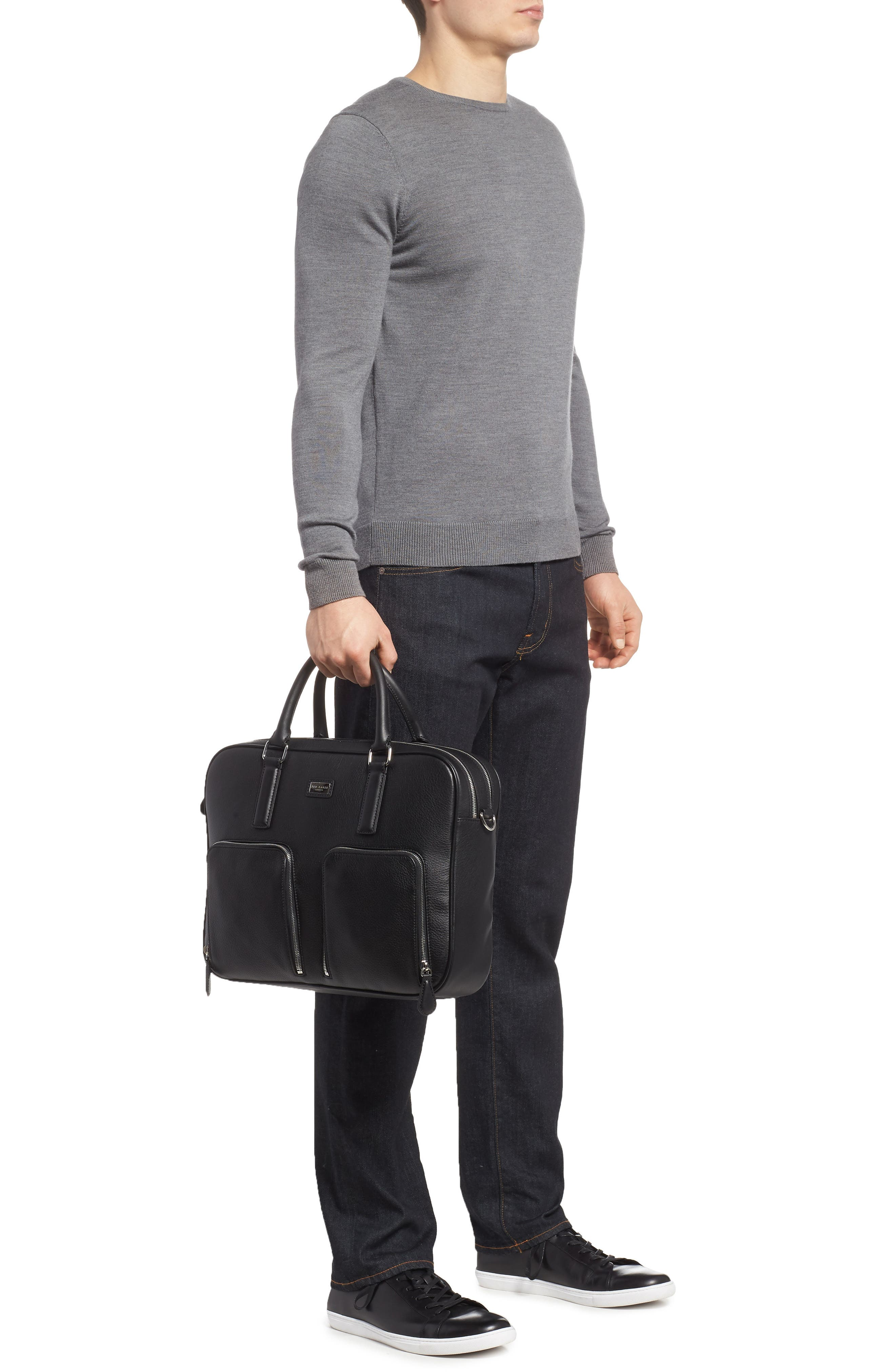 Toother Leather Briefcase,                             Alternate thumbnail 2, color,                             Black