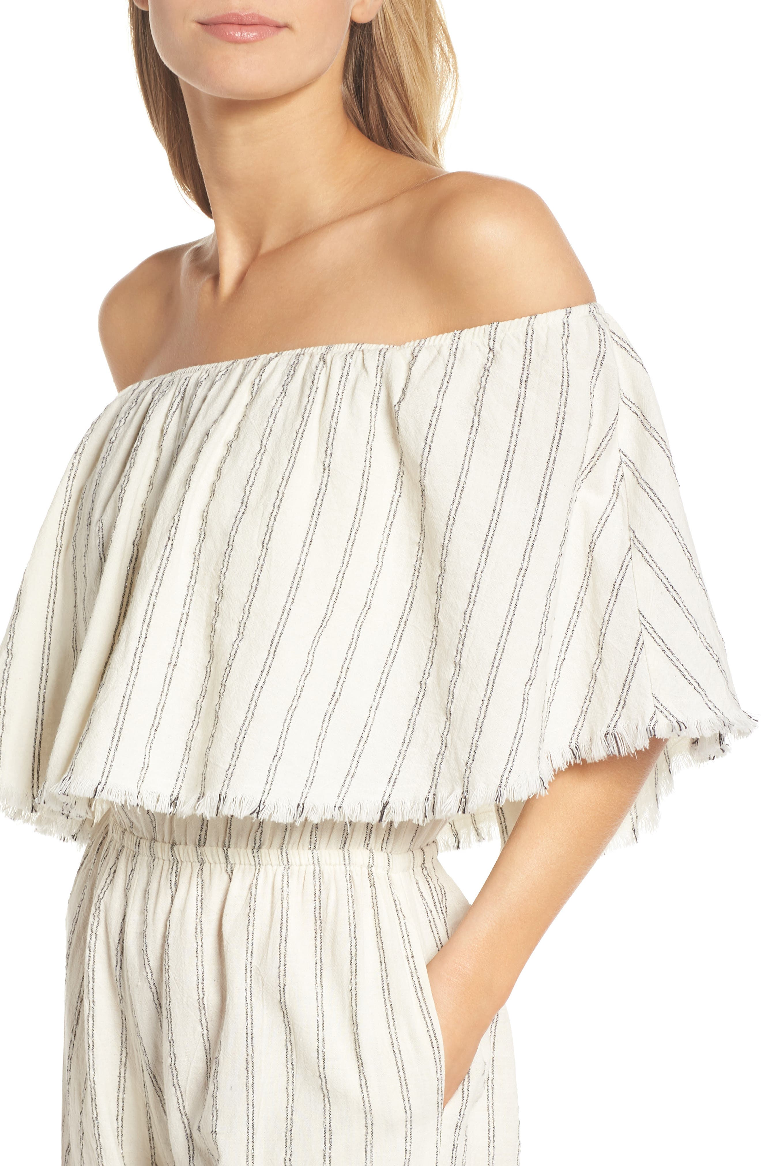 Ruffle Coulotte Cover-Up Jumpsuit,                             Alternate thumbnail 4, color,                             Natural Stripe