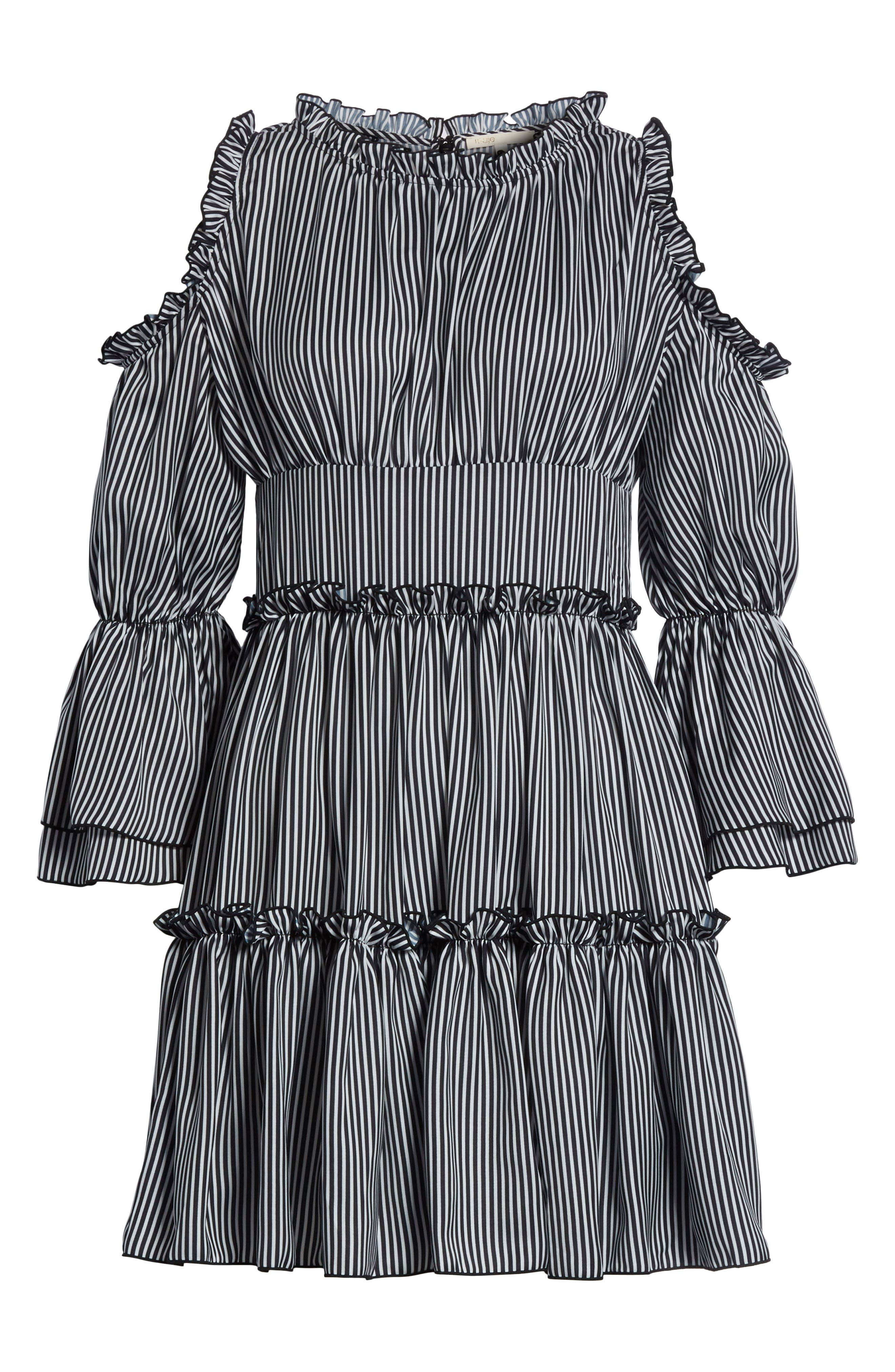 Radise Cold Shoulder Ruffled Minidress,                             Alternate thumbnail 6, color,                             Stripe