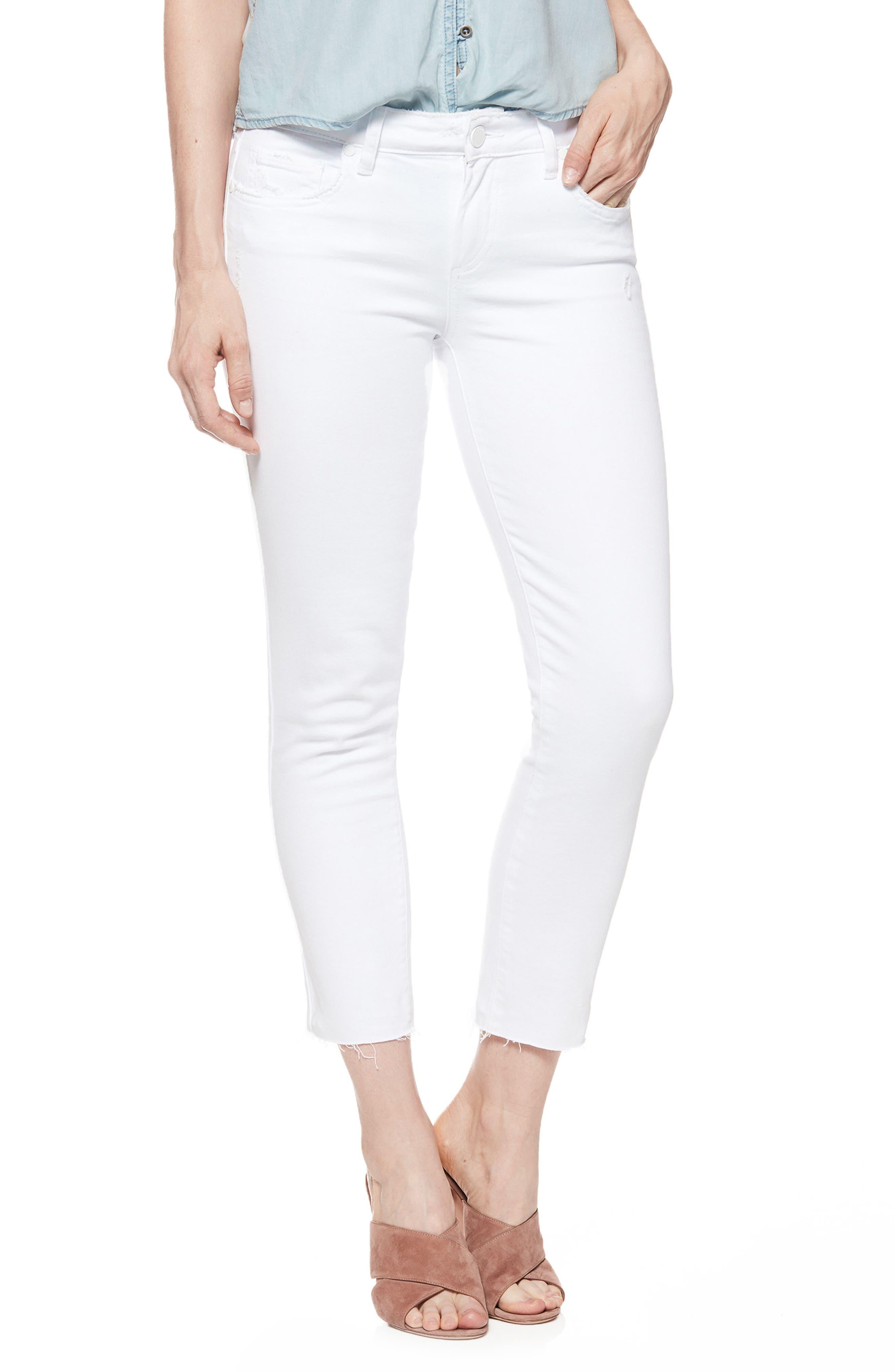 Skyline Raw Hem Crop Skinny Jeans,                             Main thumbnail 1, color,                             Lived In Crisp White