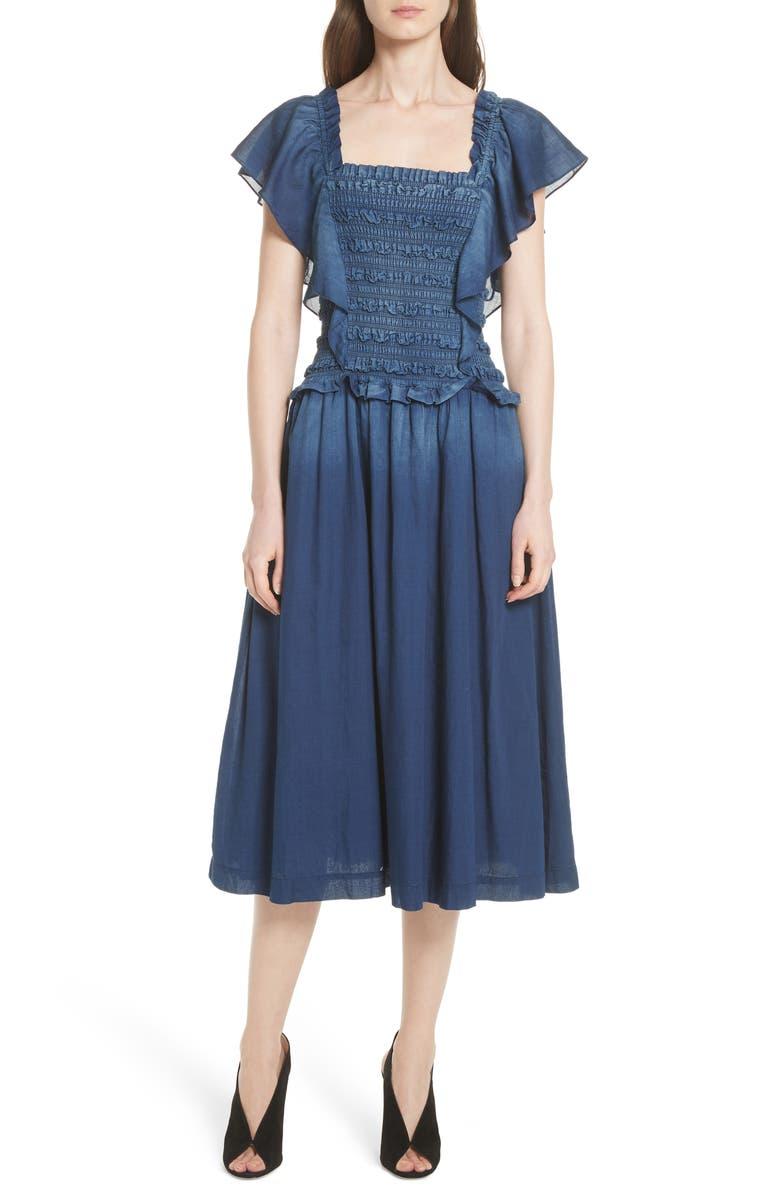 Smocked Tissue Denim Dress