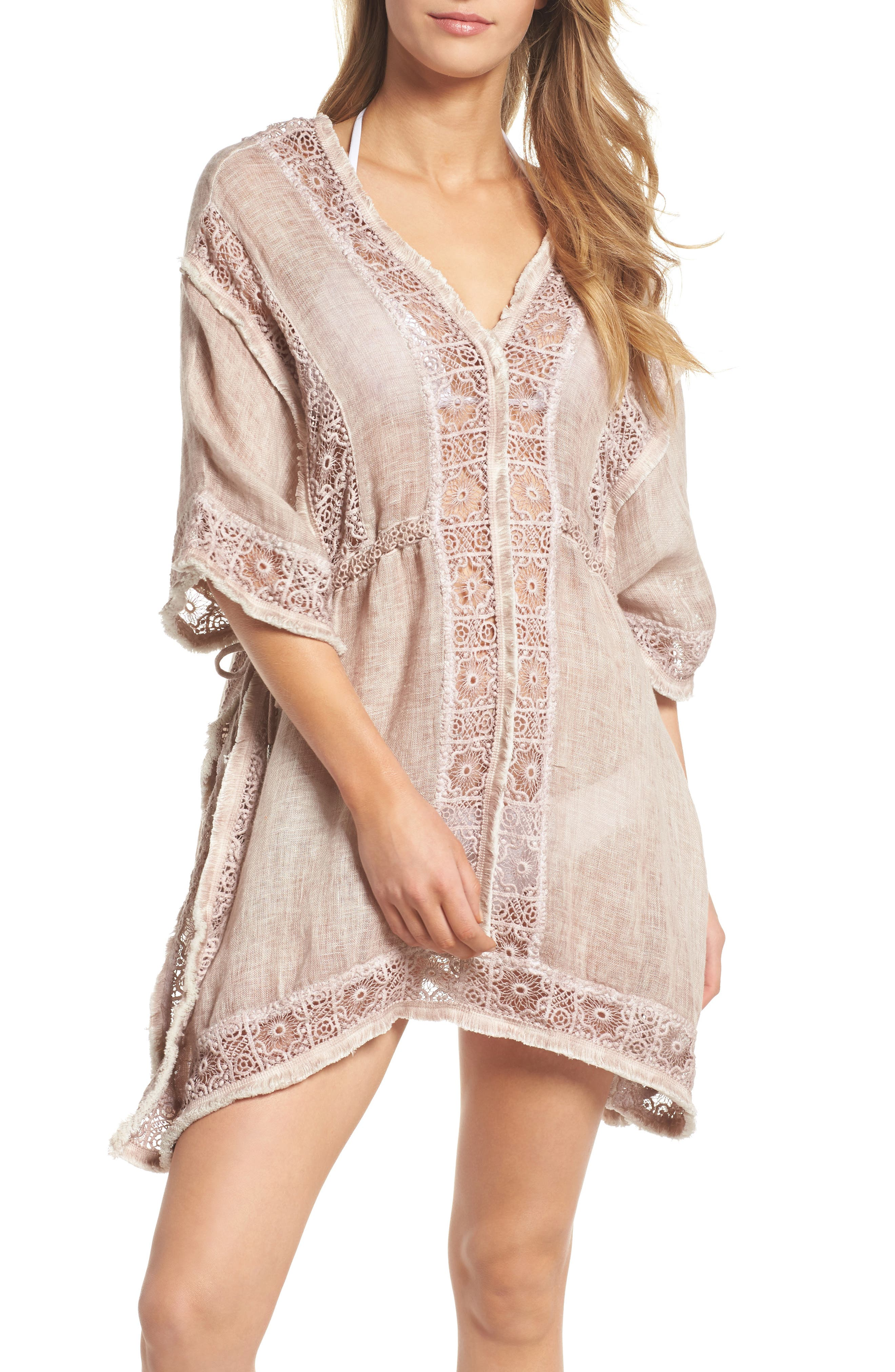 Zendaya Linen Cover-Up Tunic,                         Main,                         color, Dusty Pink