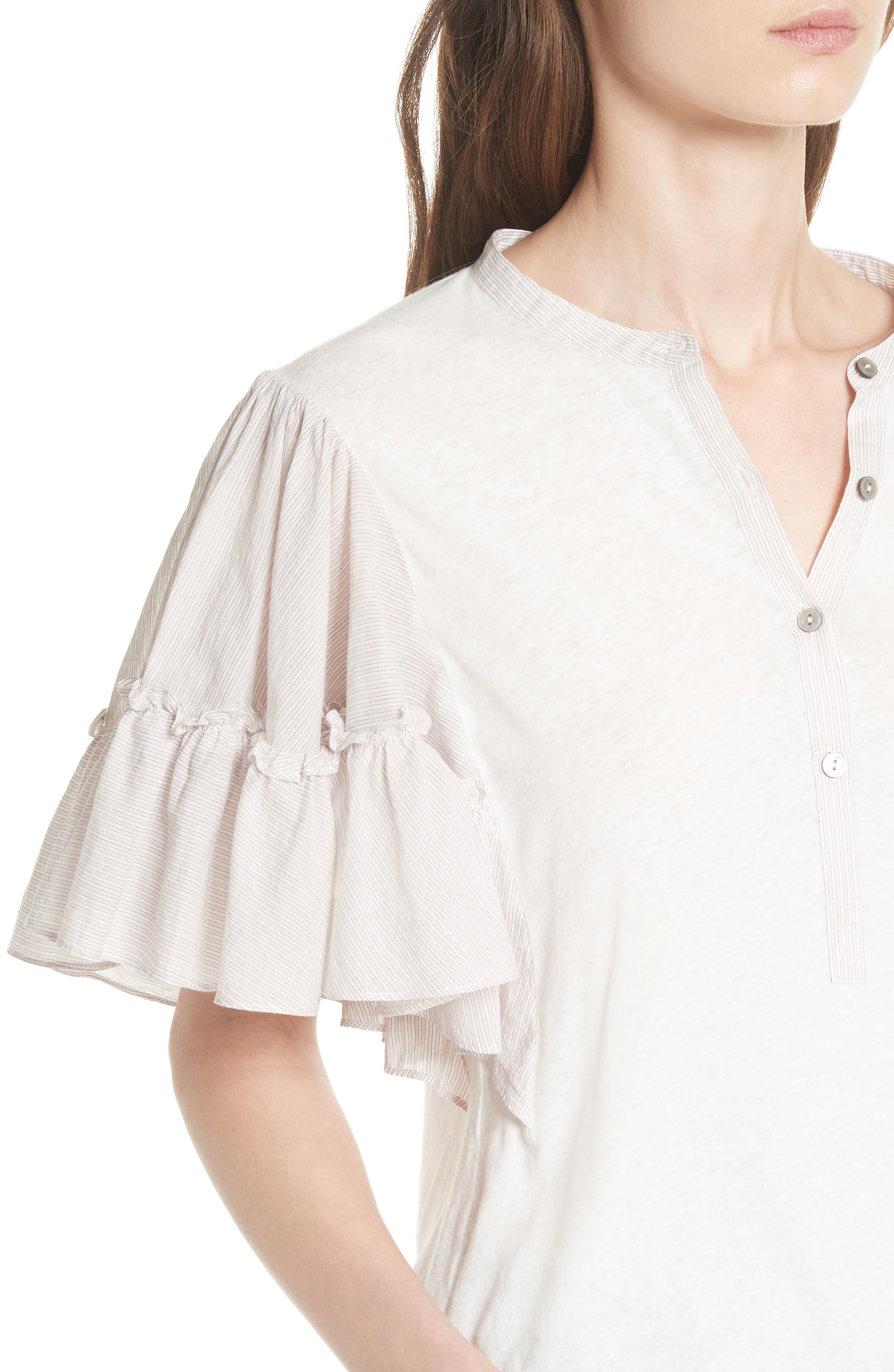 Textured Stripe Linen & Cotton Top,                             Alternate thumbnail 4, color,                             Milk