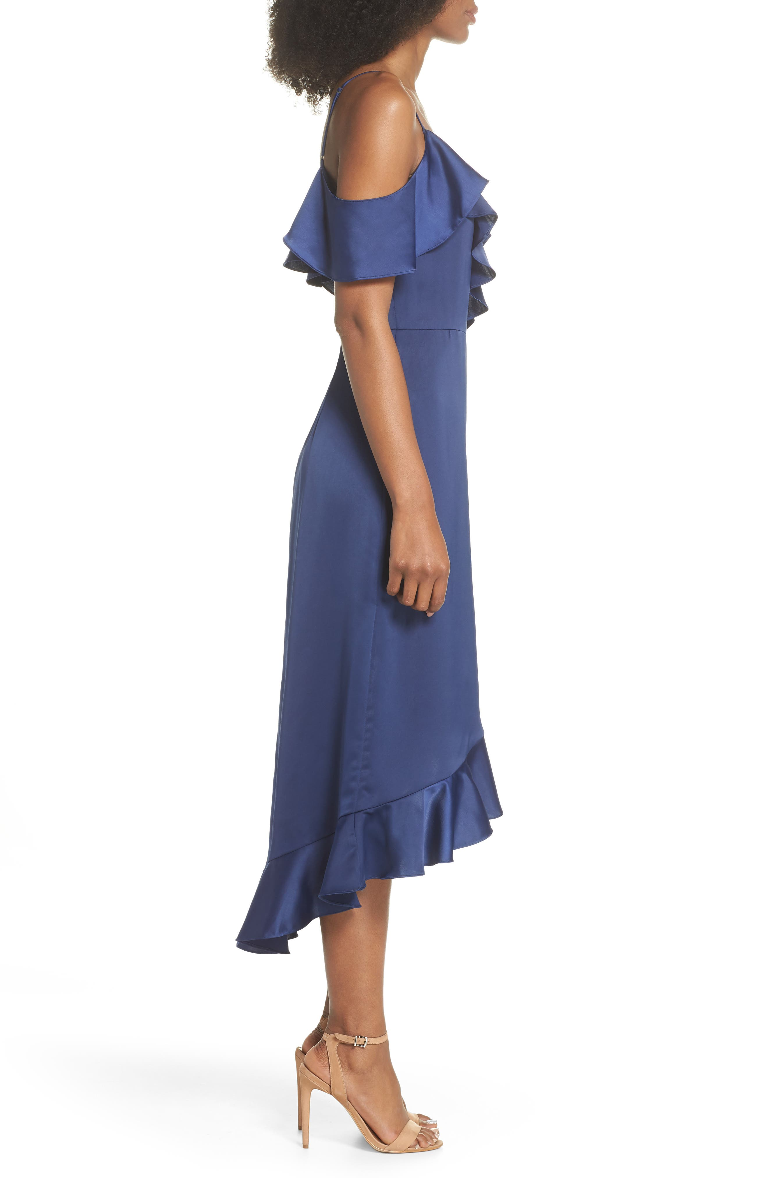 Faux Wrap Satin Ruffle Dress,                             Alternate thumbnail 3, color,                             Navy