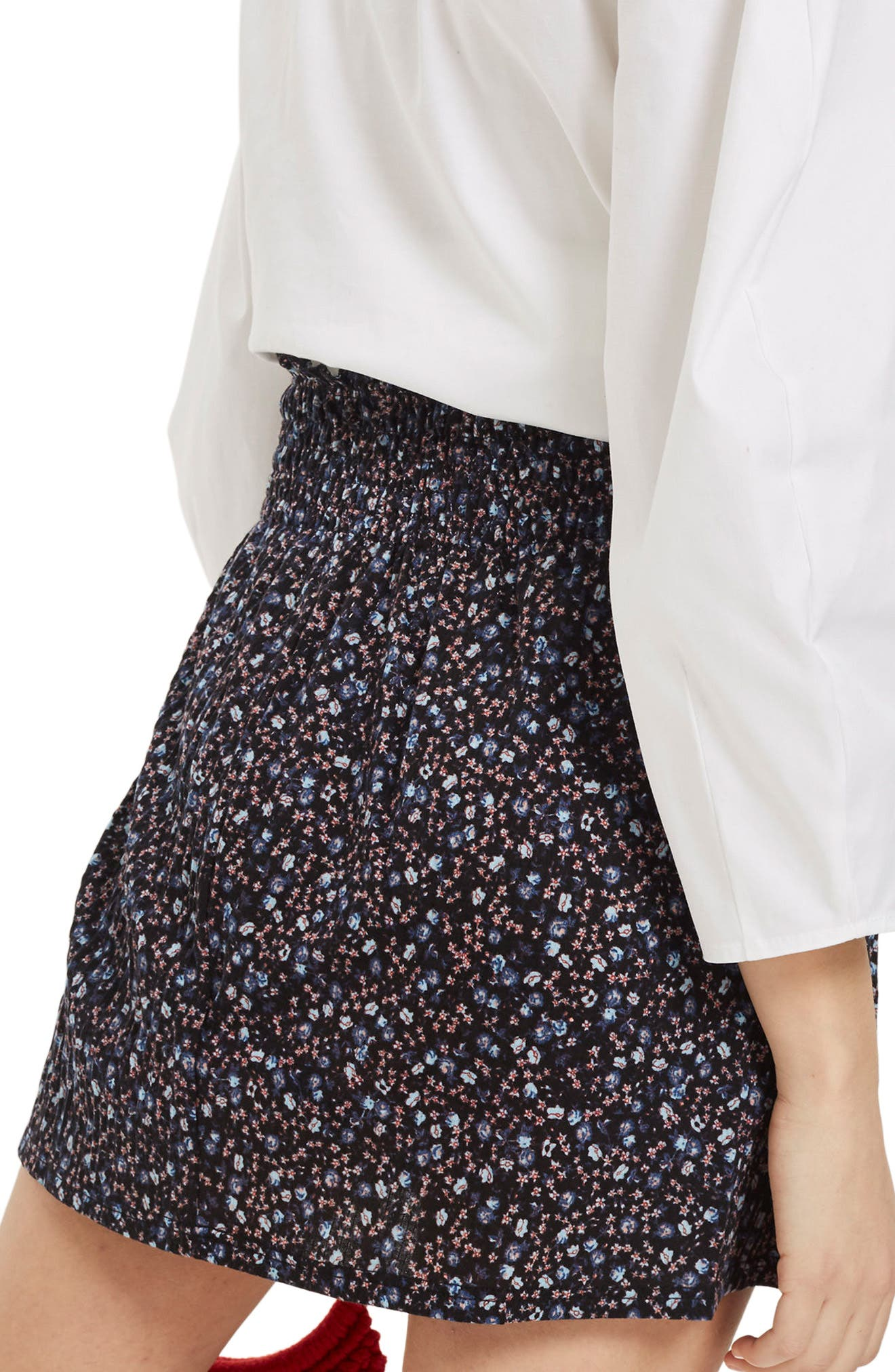 Alternate Image 2  - Topshop Floral Print Shirred Miniskirt