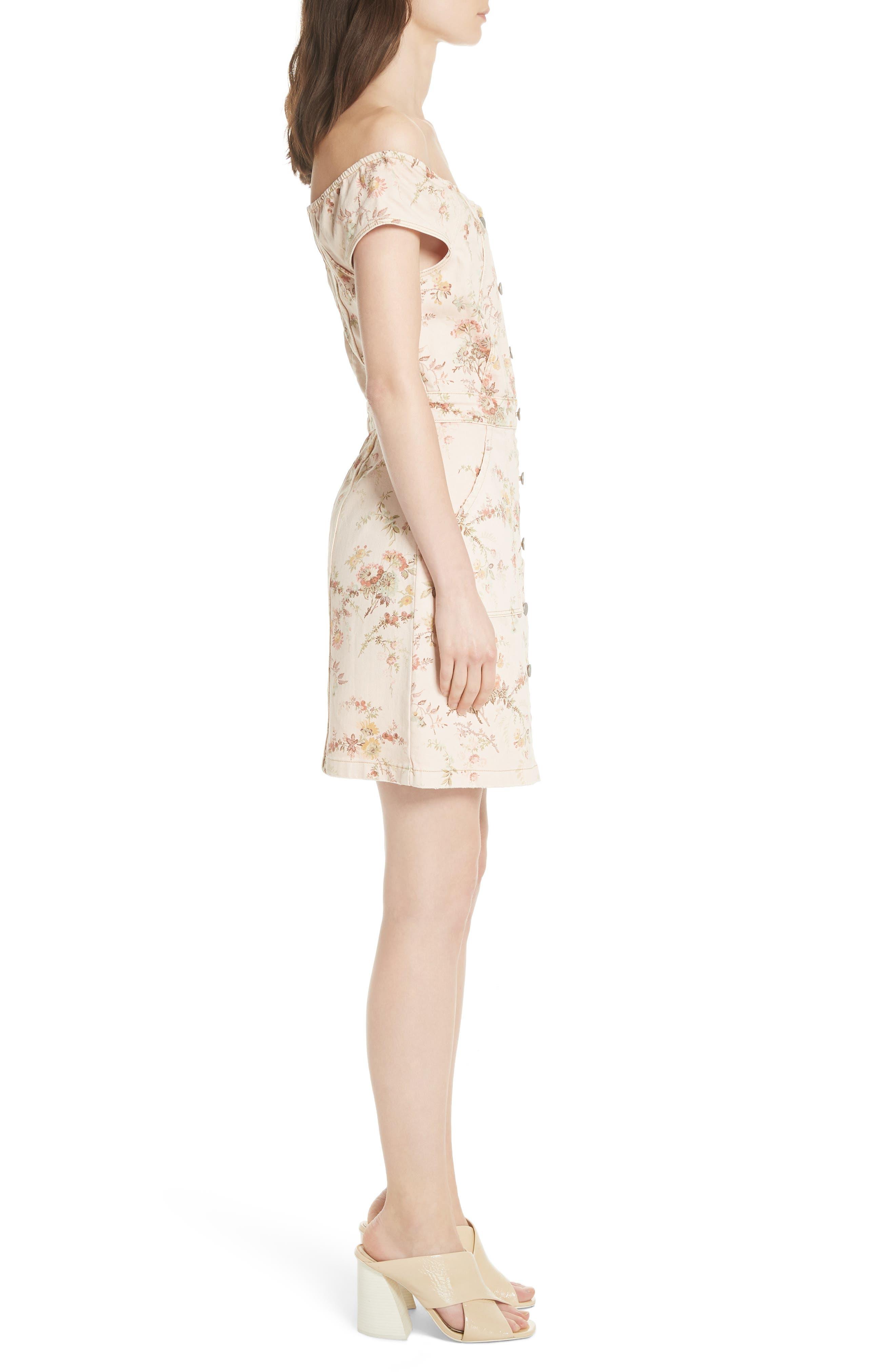 Floral Off the Shoulder Denim Dress,                             Alternate thumbnail 3, color,                             Frappe Combo