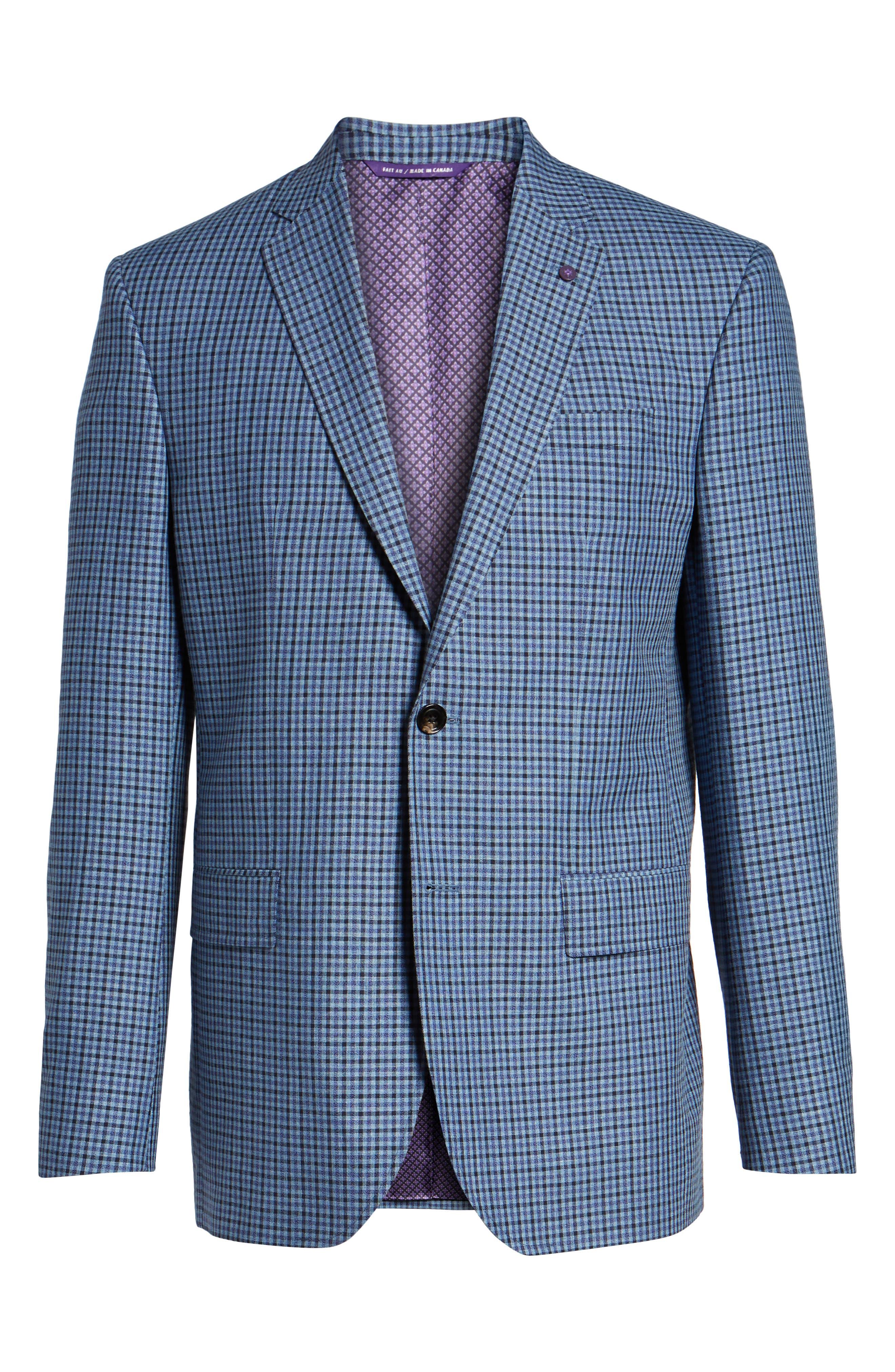 Jay Trim Fit Check Wool & Linen Sport Coat,                             Alternate thumbnail 6, color,                             Blue