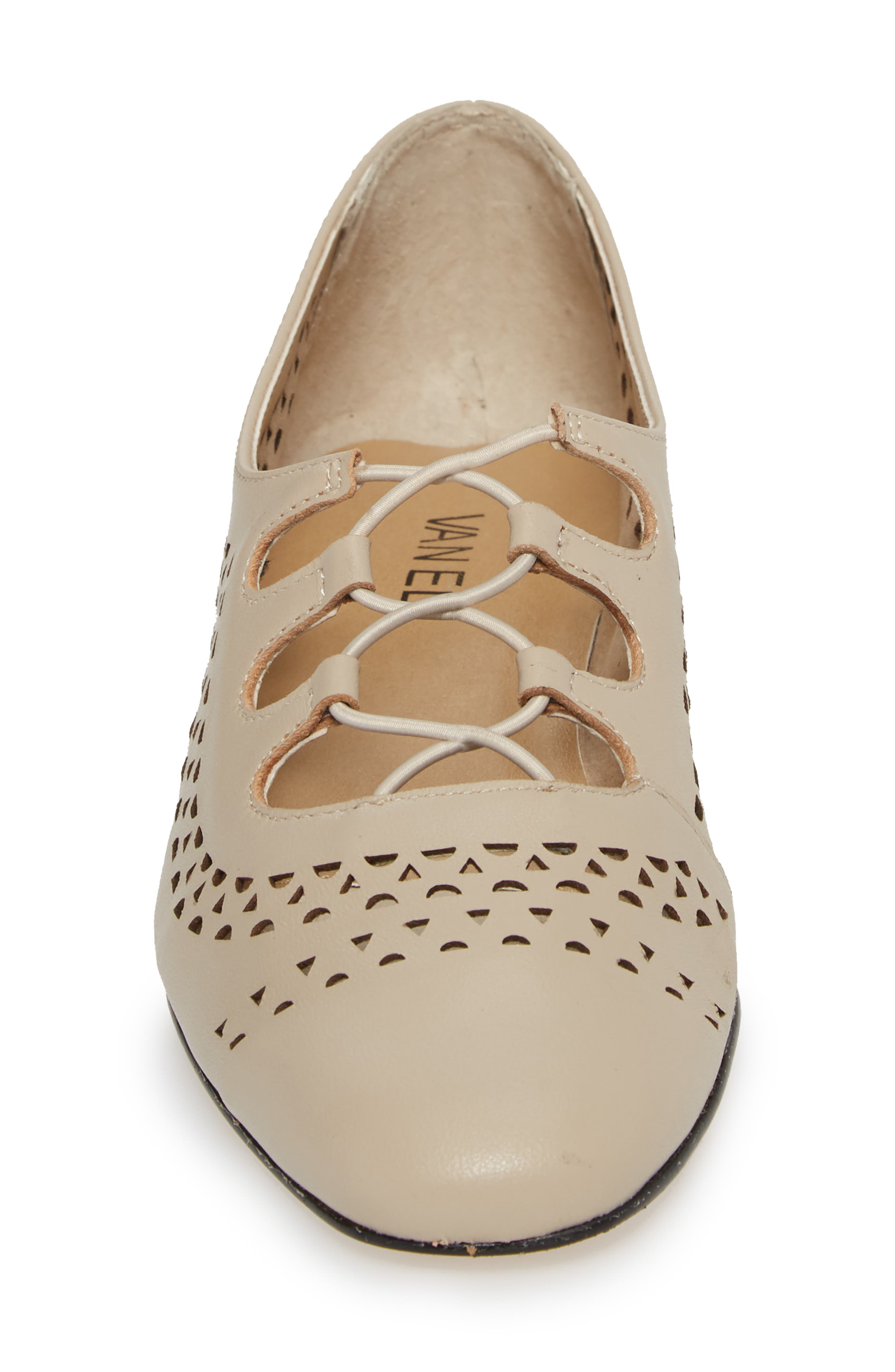 Fabra Perforated Oxford Slip-On,                             Alternate thumbnail 4, color,                             Ecru Leather