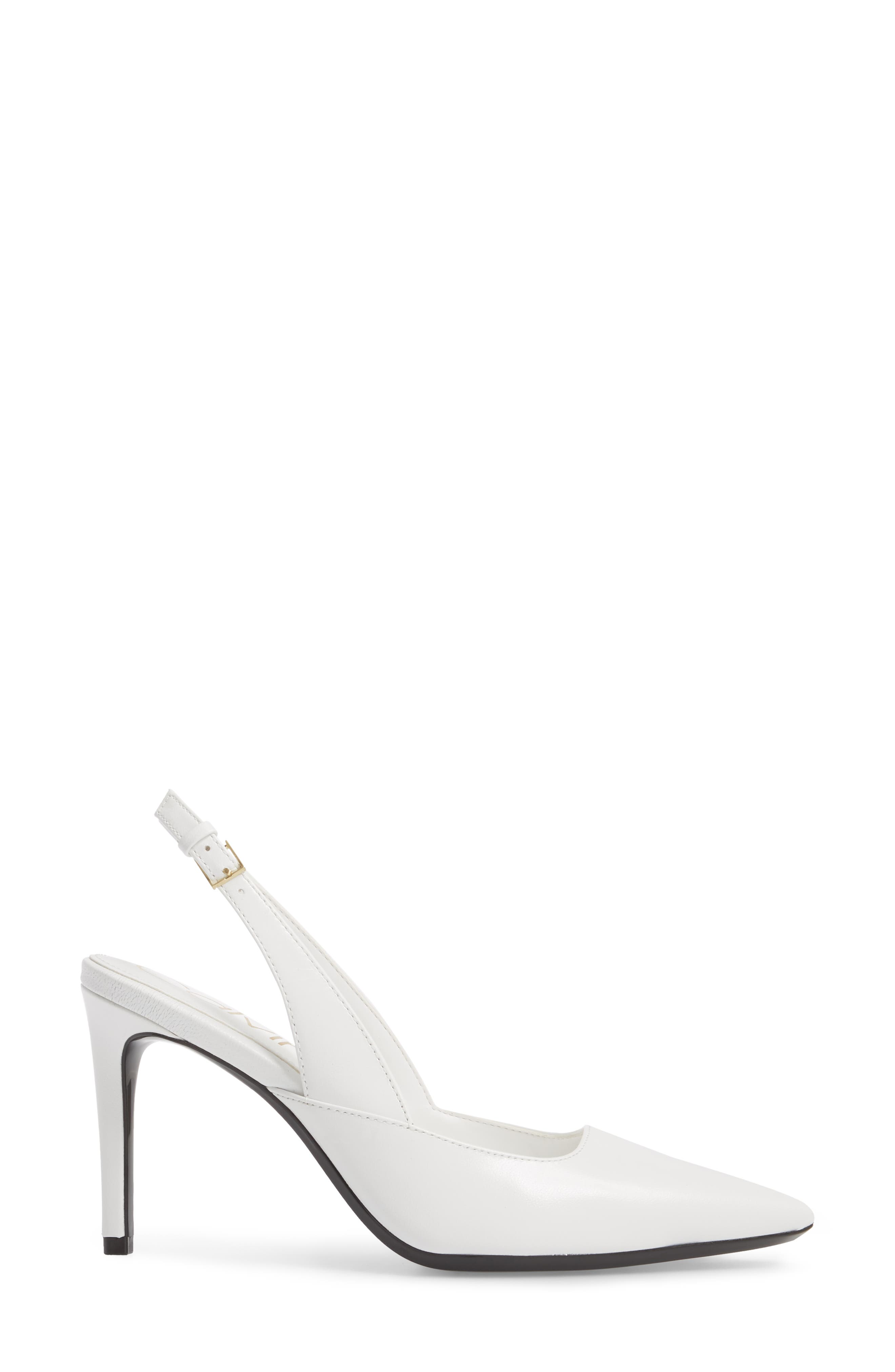 Rielle Slingback Pump,                             Alternate thumbnail 3, color,                             Platinum White Leather