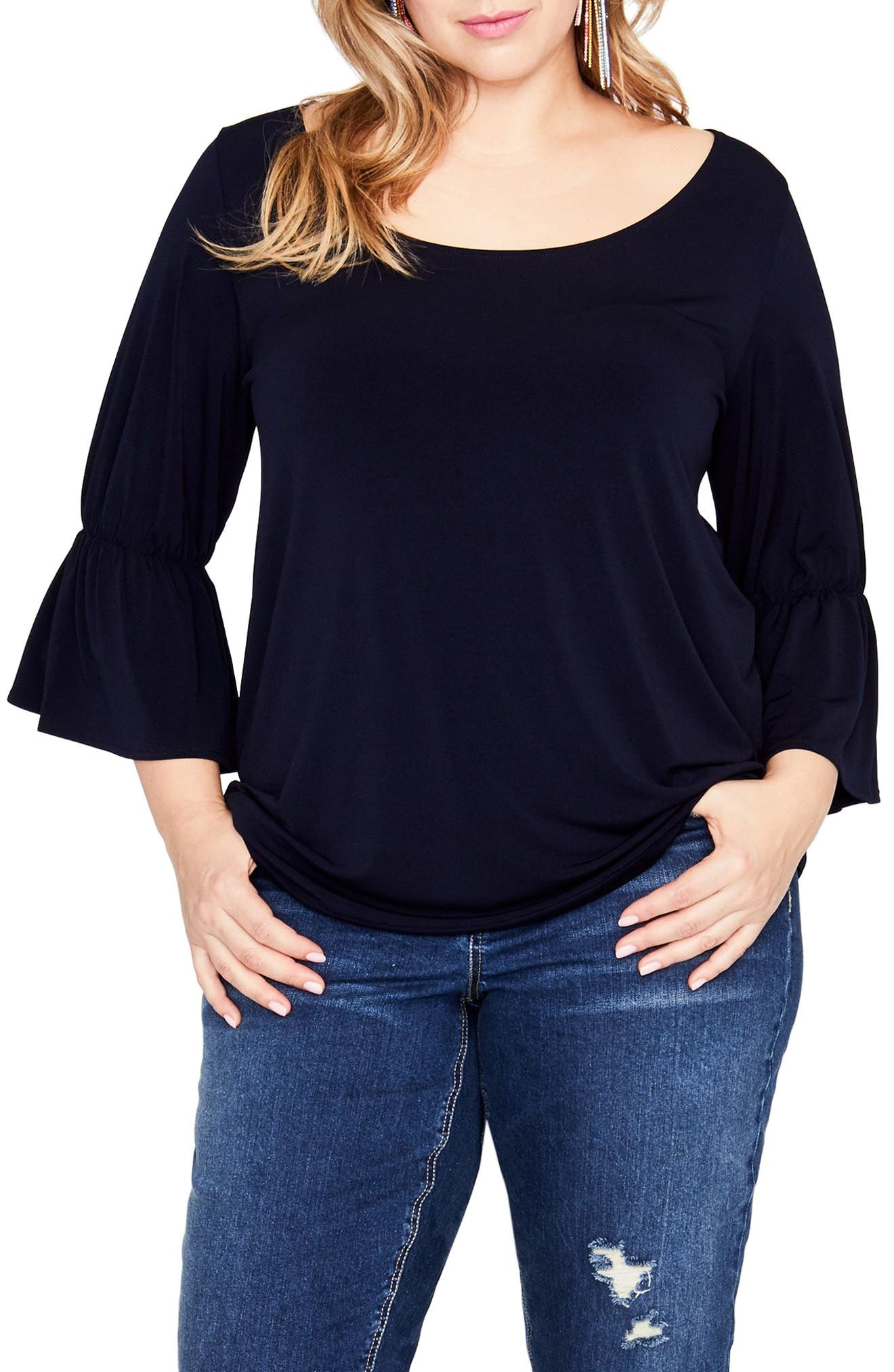 Ruffle Sleeve Top,                         Main,                         color, True Navy