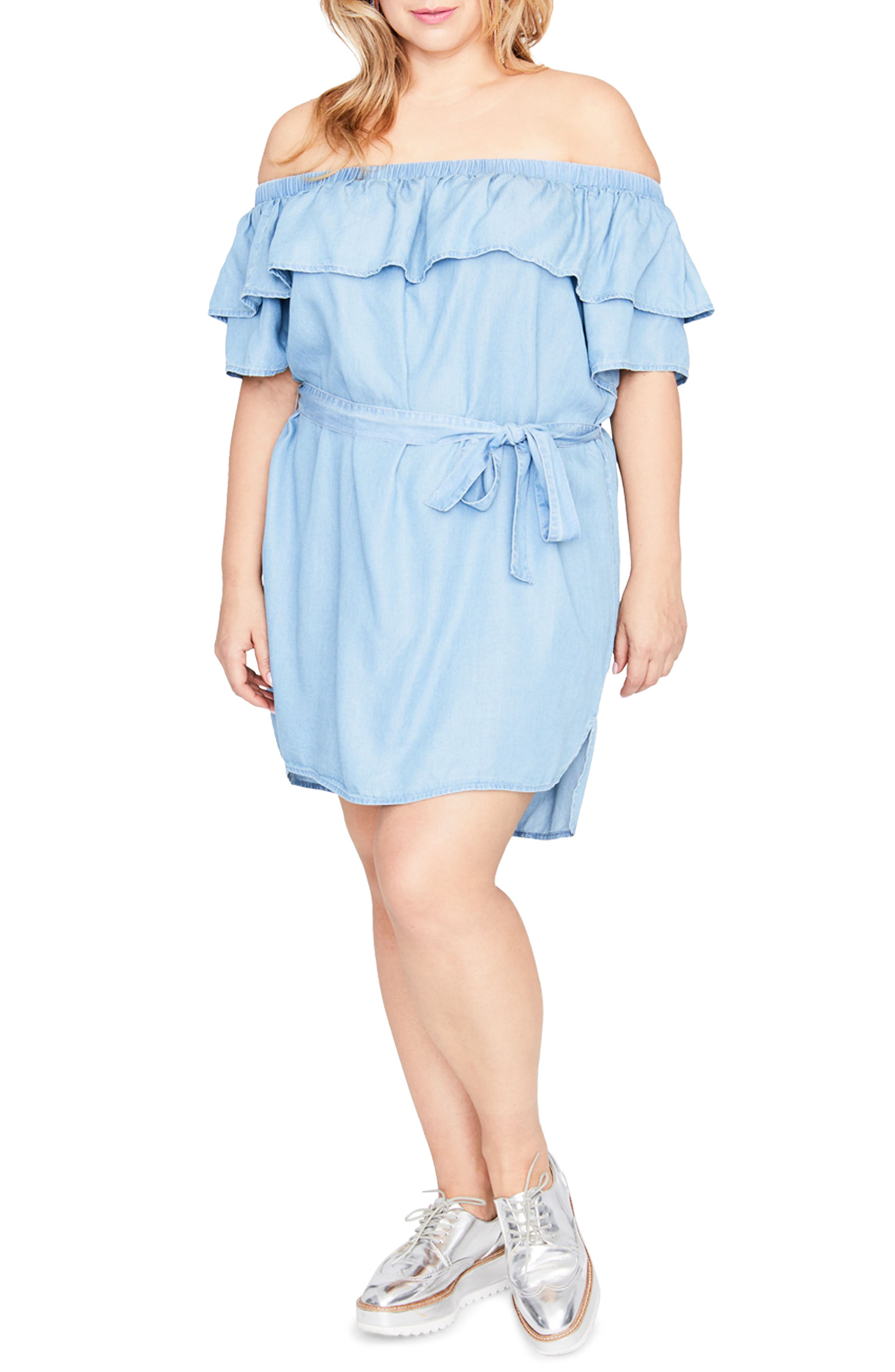 Off the Shoulder Chambray Dress,                         Main,                         color, Light Wash