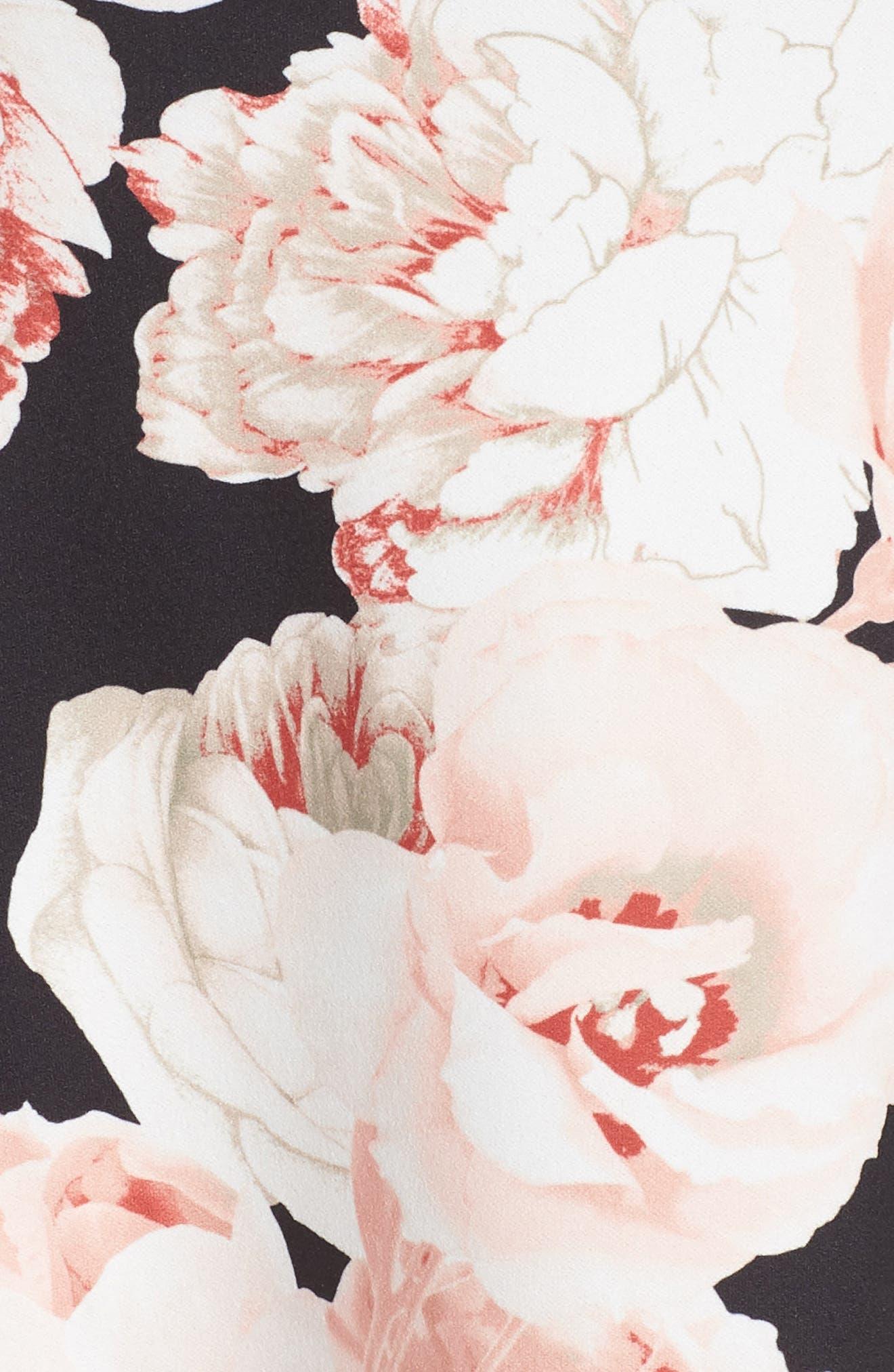Floral A-Line Dress,                             Alternate thumbnail 5, color,                             Pink/ Black Multi