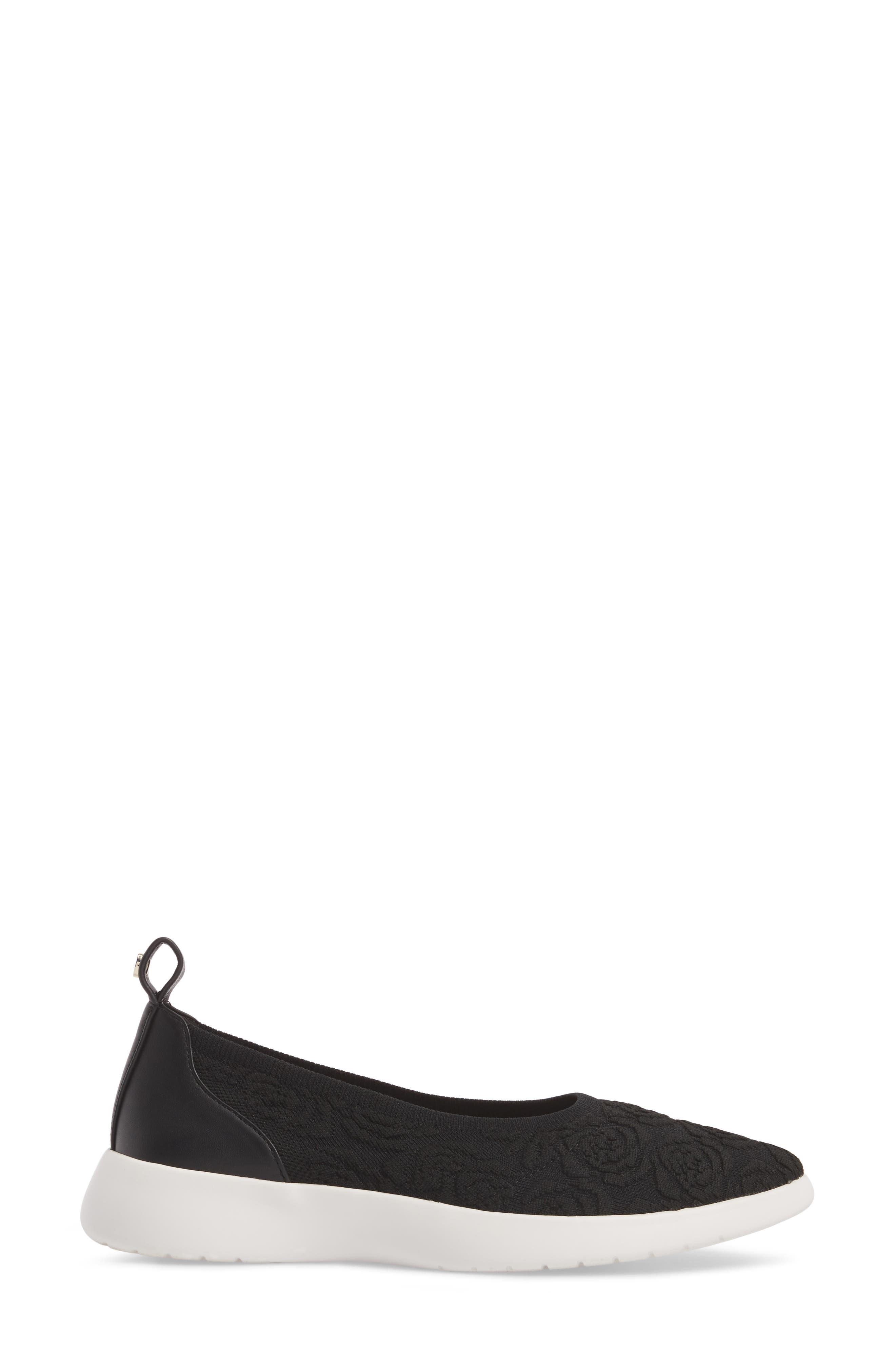 Daisy Flat,                             Alternate thumbnail 3, color,                             Black Knit Fabric