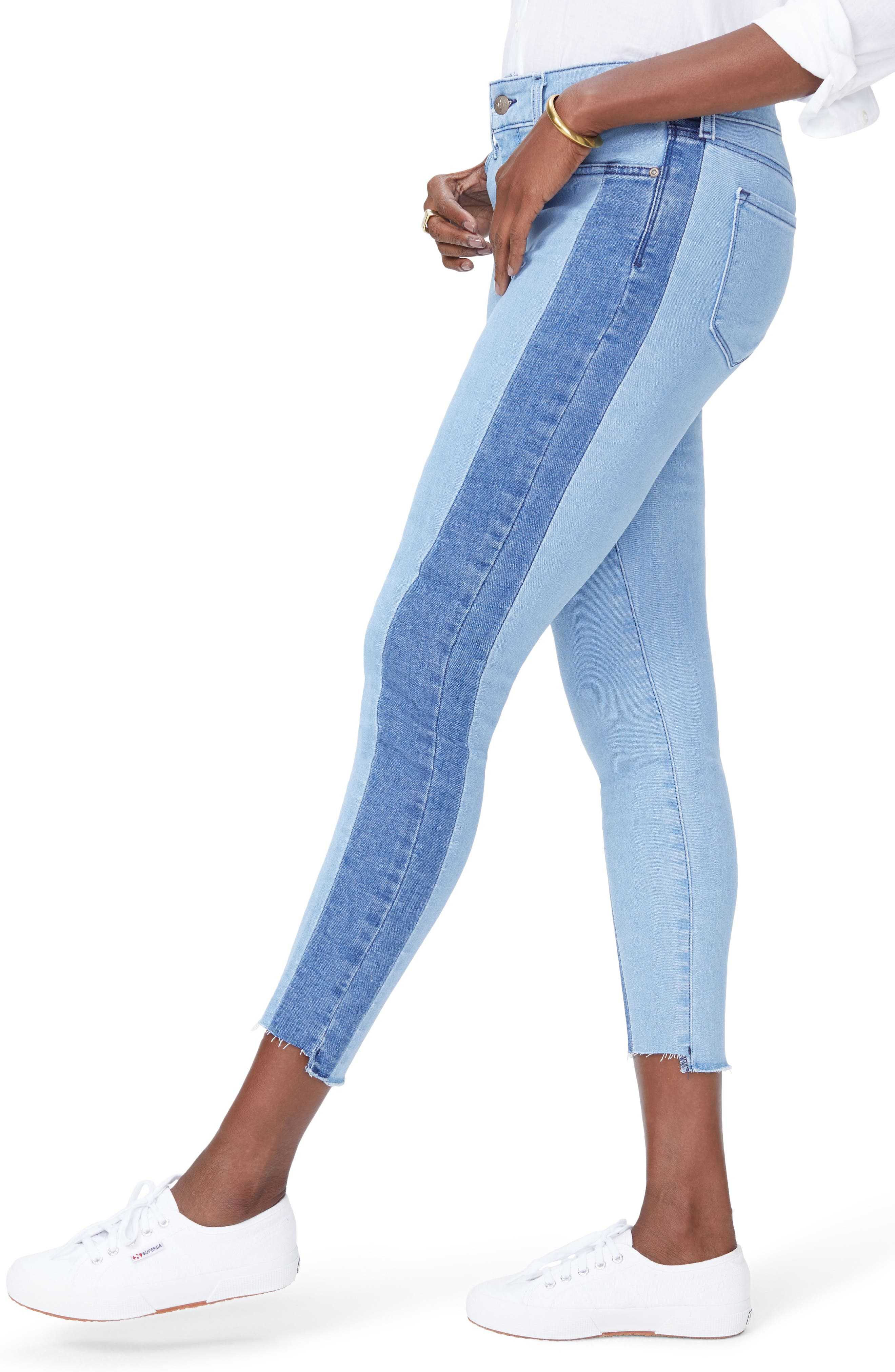 Ami Stretch Ankle Skinny Contrast Step Hem Jeans,                             Alternate thumbnail 4, color,                             Blissful