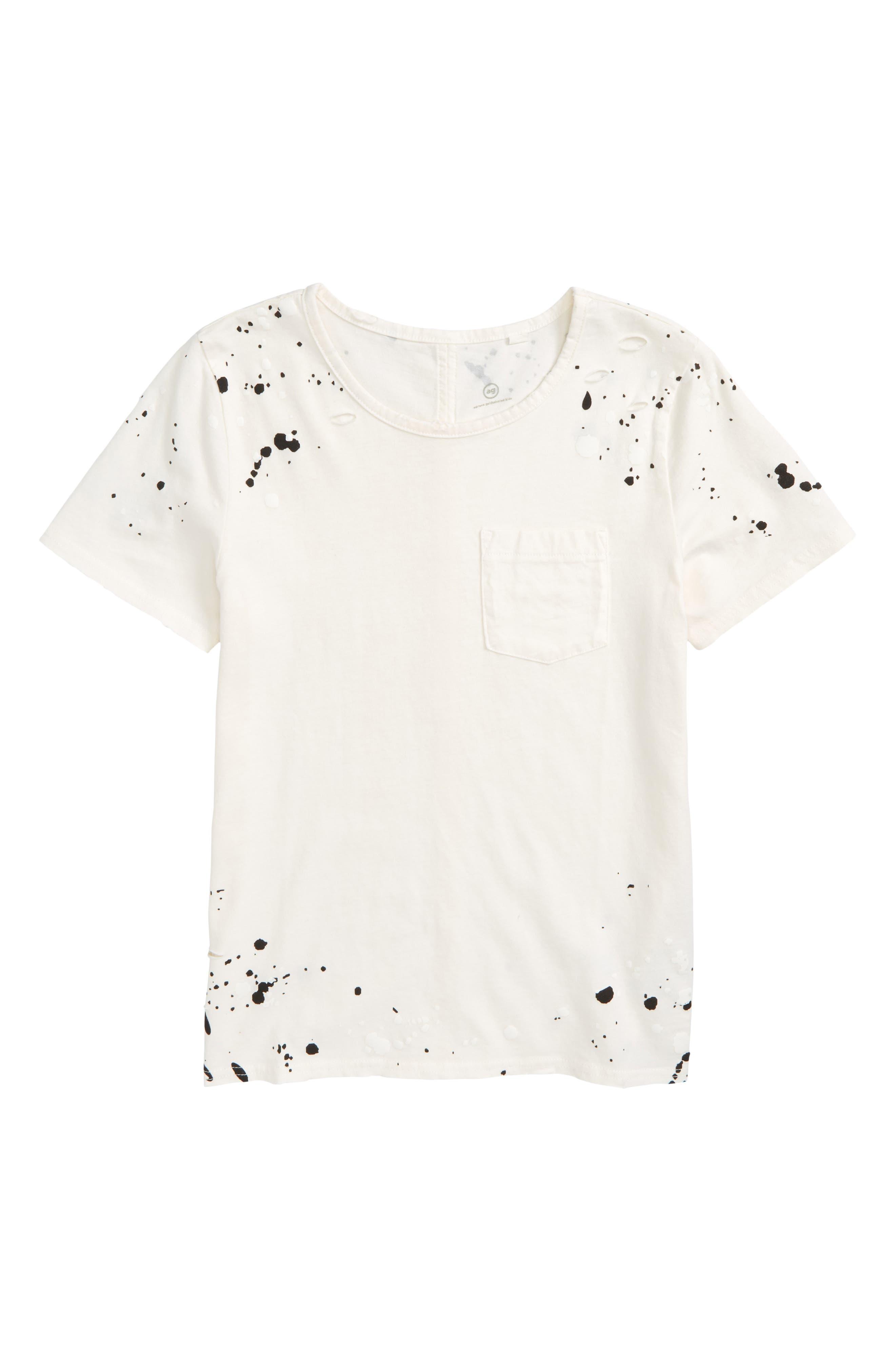 Waverly Paint Splatter Tee,                             Main thumbnail 1, color,                             Bleach White/ Black