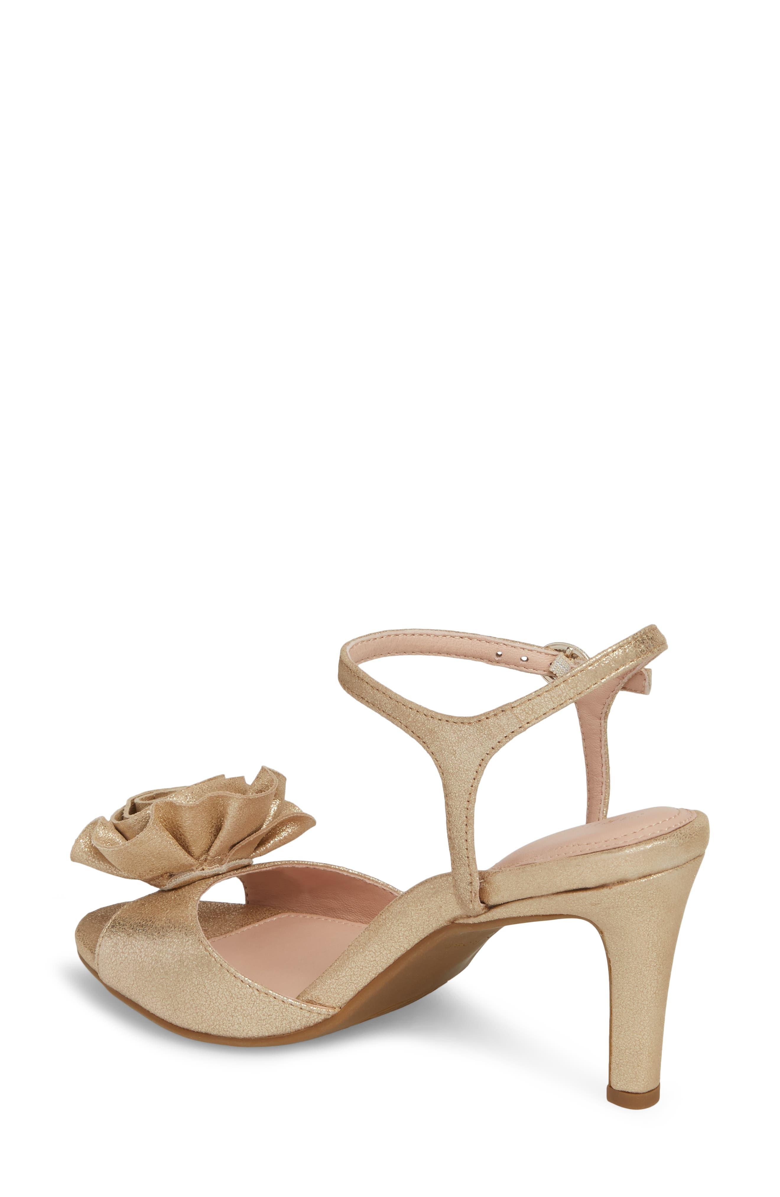 Jacklyn Flower Sandal,                             Alternate thumbnail 2, color,                             Gold Shimmer Fabric