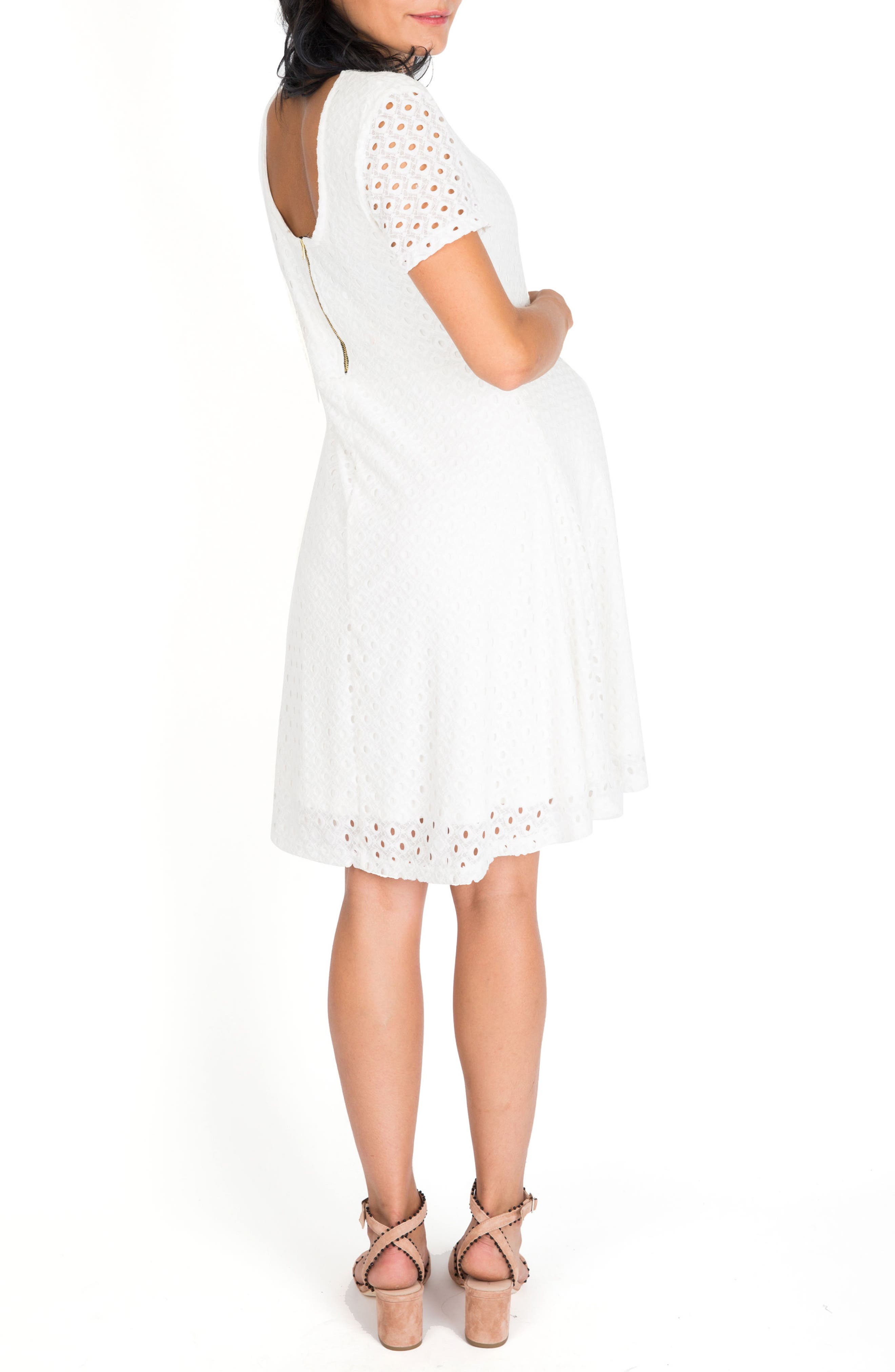 Georgia Maternity Eyelet Dress,                             Alternate thumbnail 2, color,                             White Lace