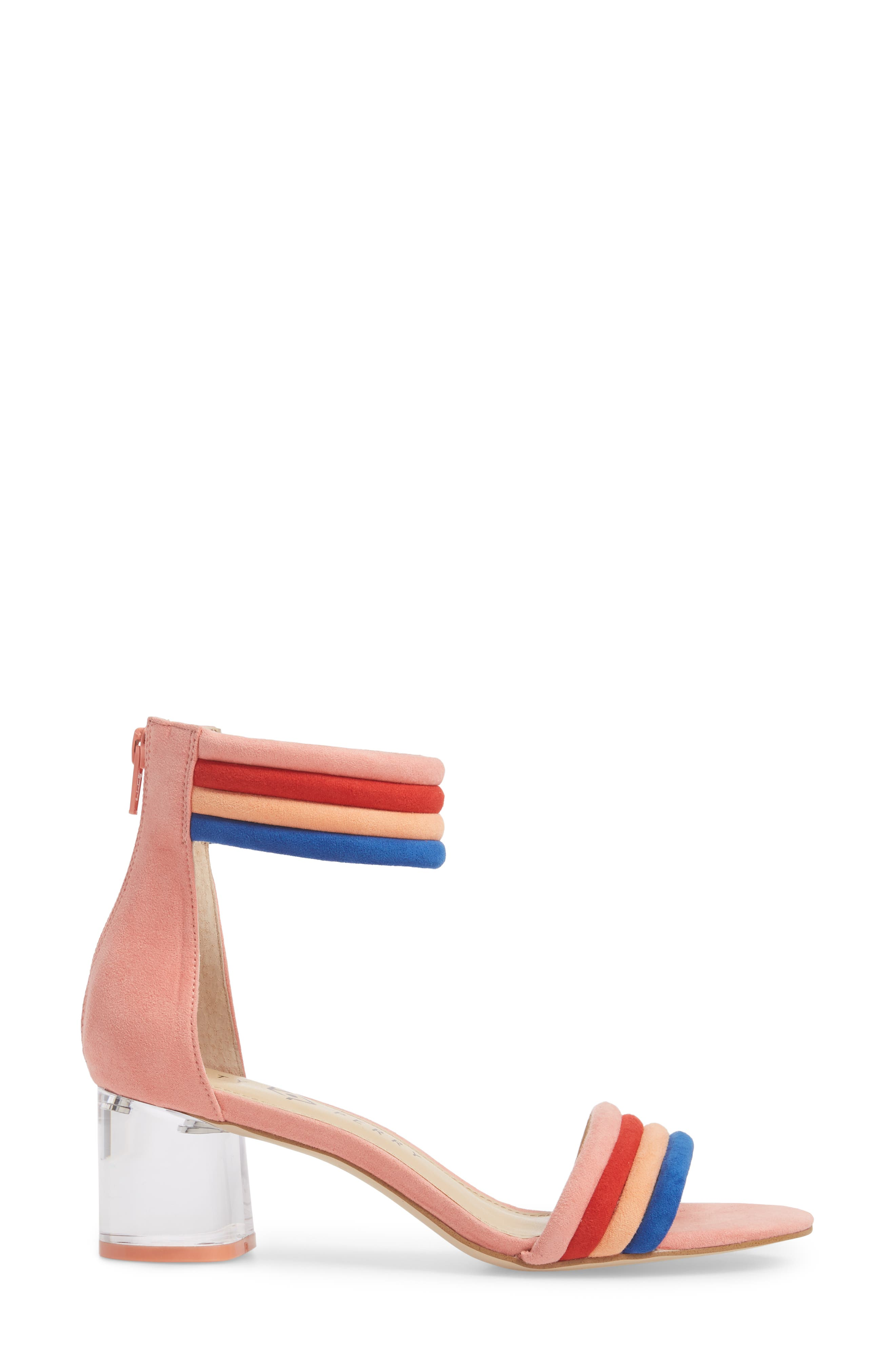 Tube Strap Sandal,                             Alternate thumbnail 3, color,                             Pop Pink Suede