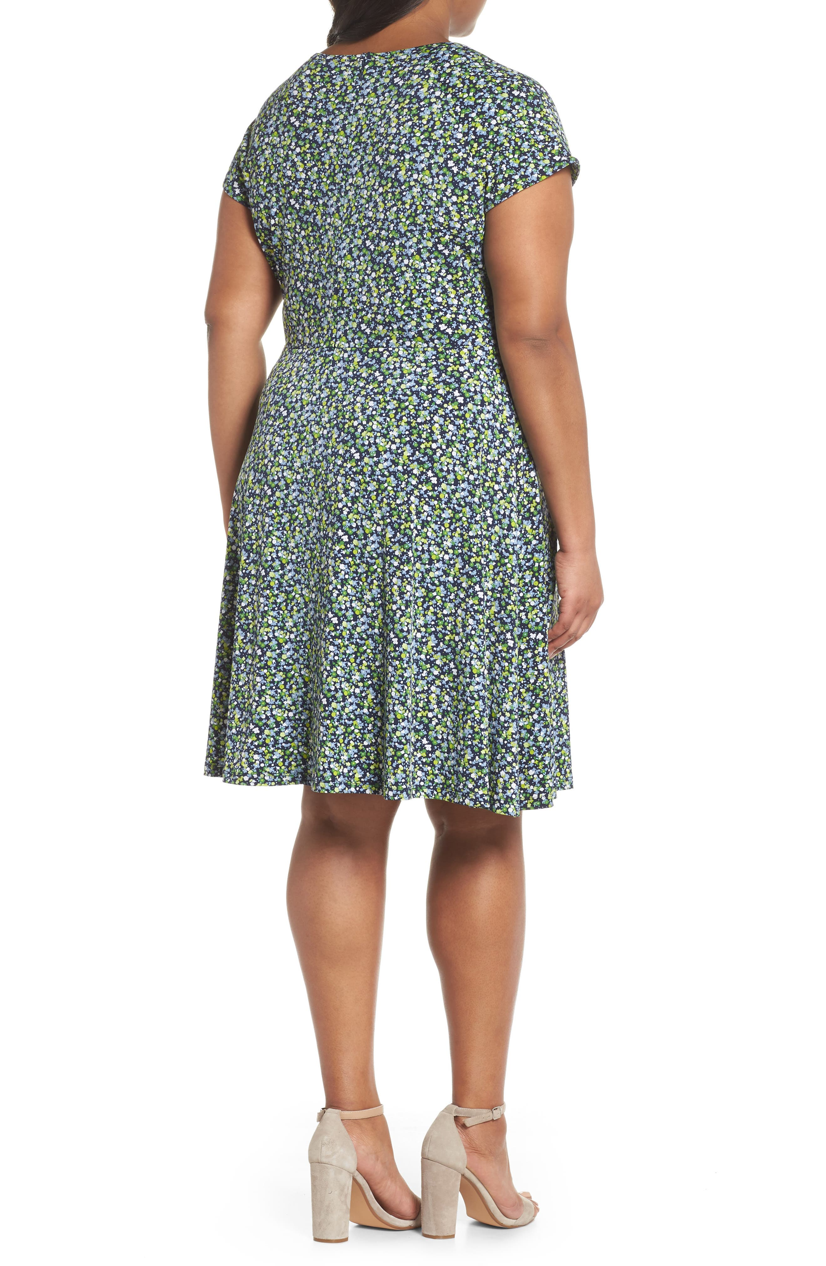 Floral Cutout Jersey Fit & Flare Dress,                             Alternate thumbnail 2, color,                             True Navy/ Green Apple Mu