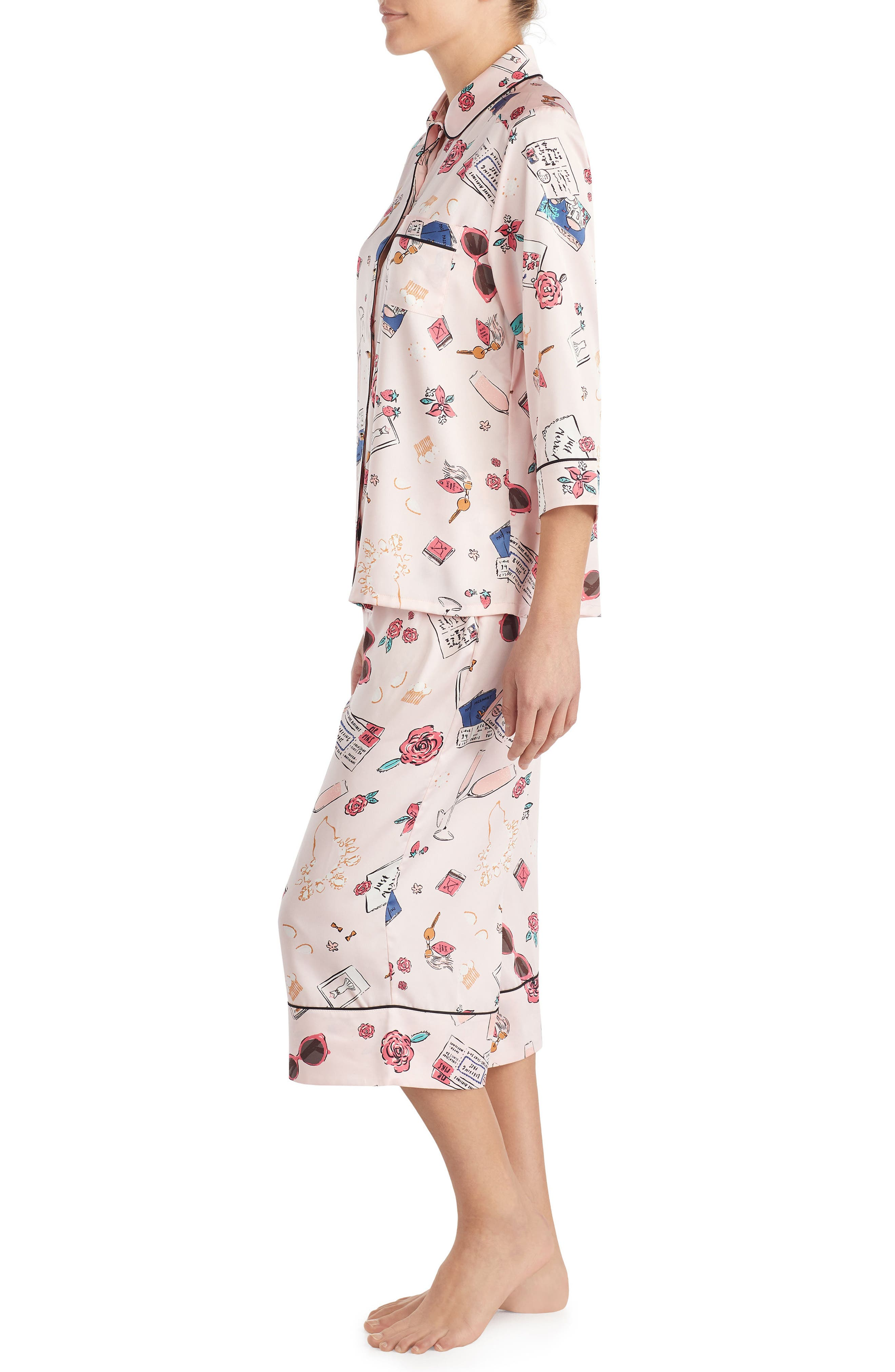 print charmeuse crop pajamas,                             Alternate thumbnail 3, color,                             Honeymoon Print