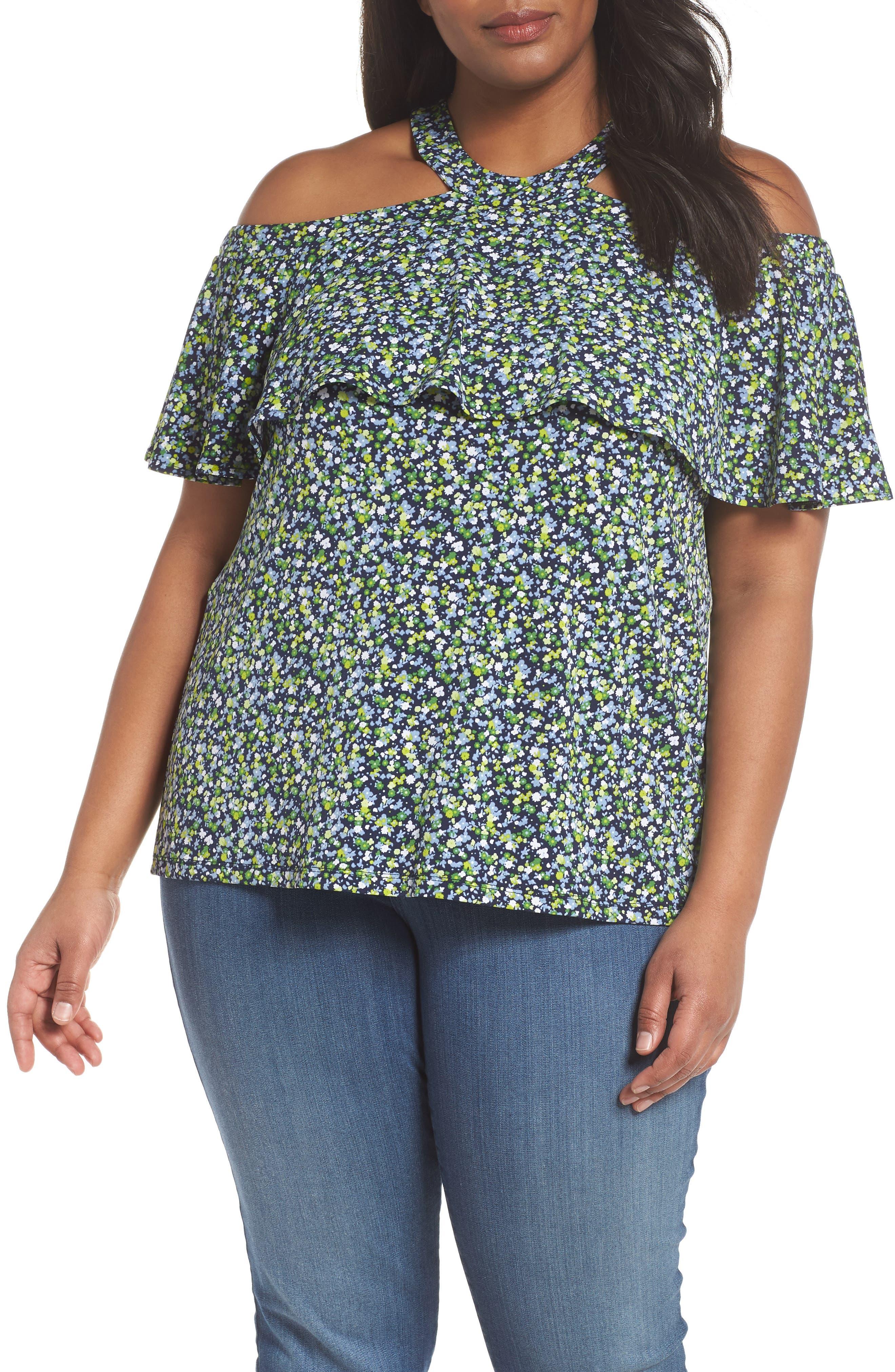 Wildflower Flounce Cold Shoulder Top,                             Main thumbnail 1, color,                             True Navy/ Green Apple Mu
