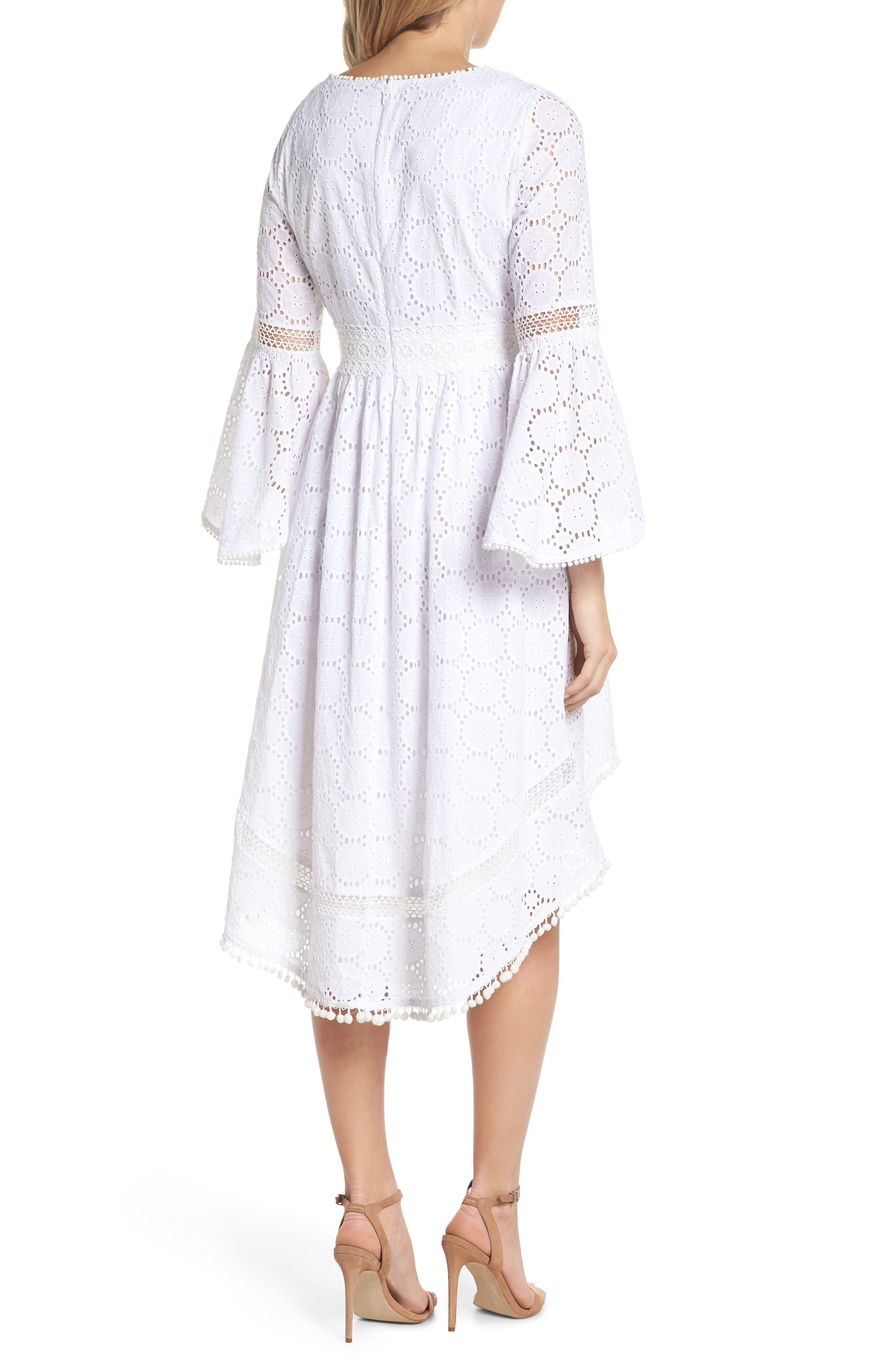 Bell Sleeve High/Low Eyelet Dress,                             Alternate thumbnail 2, color,                             Ivory