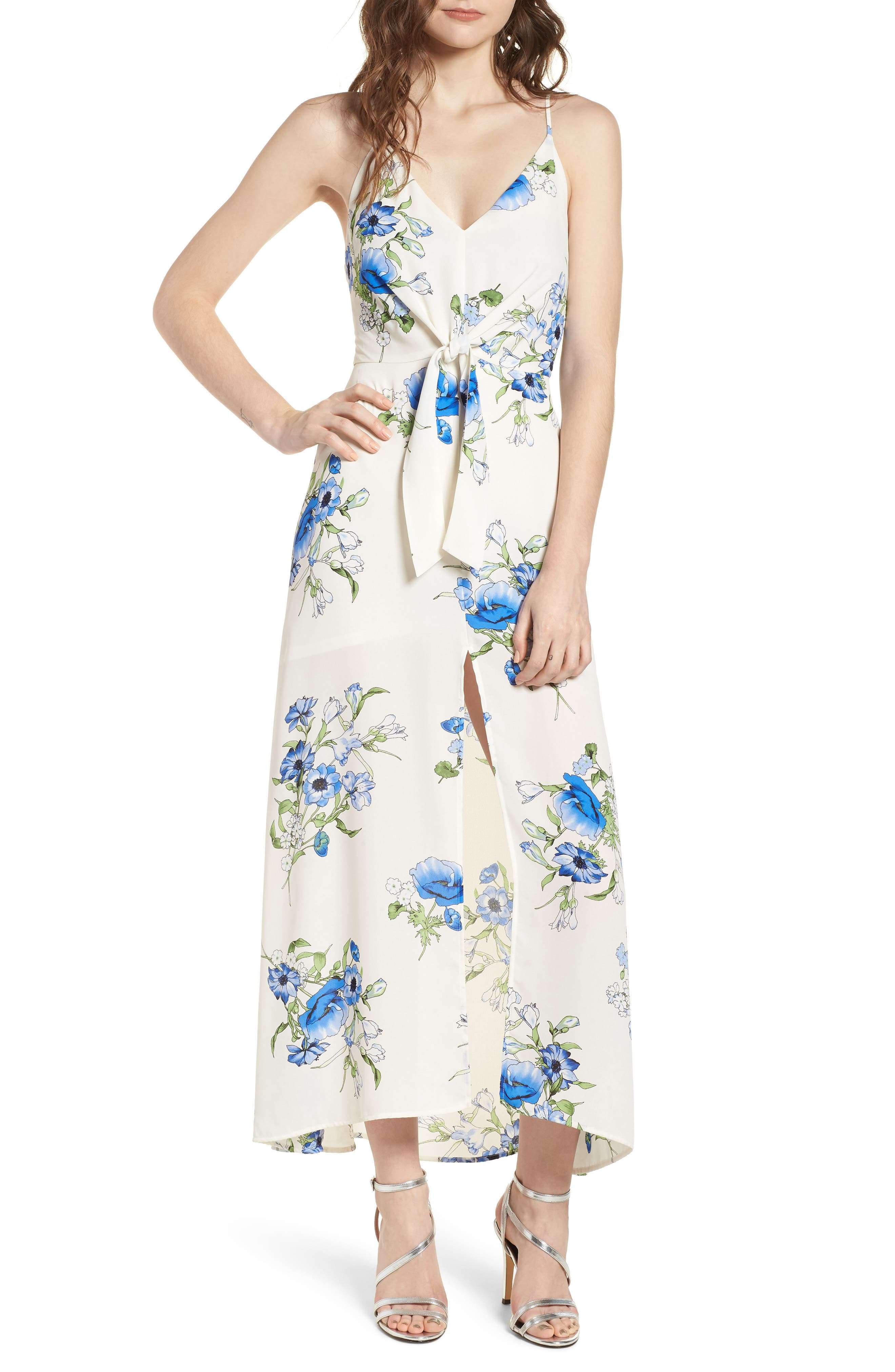 Floral Print Maxi Dress,                         Main,                         color, Ivory Floral