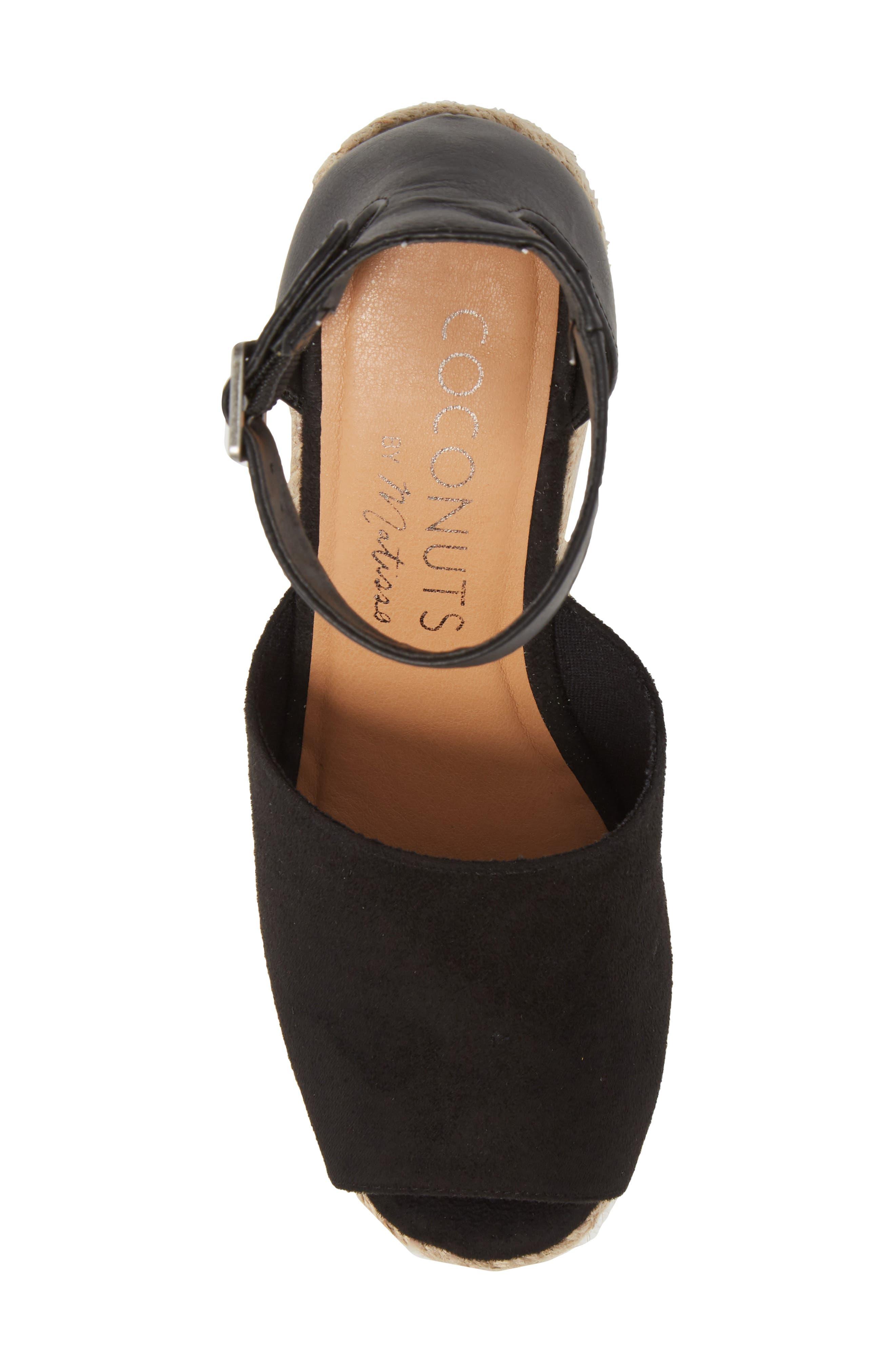 Flamingo Wedge Sandal,                             Alternate thumbnail 5, color,                             Black Suede