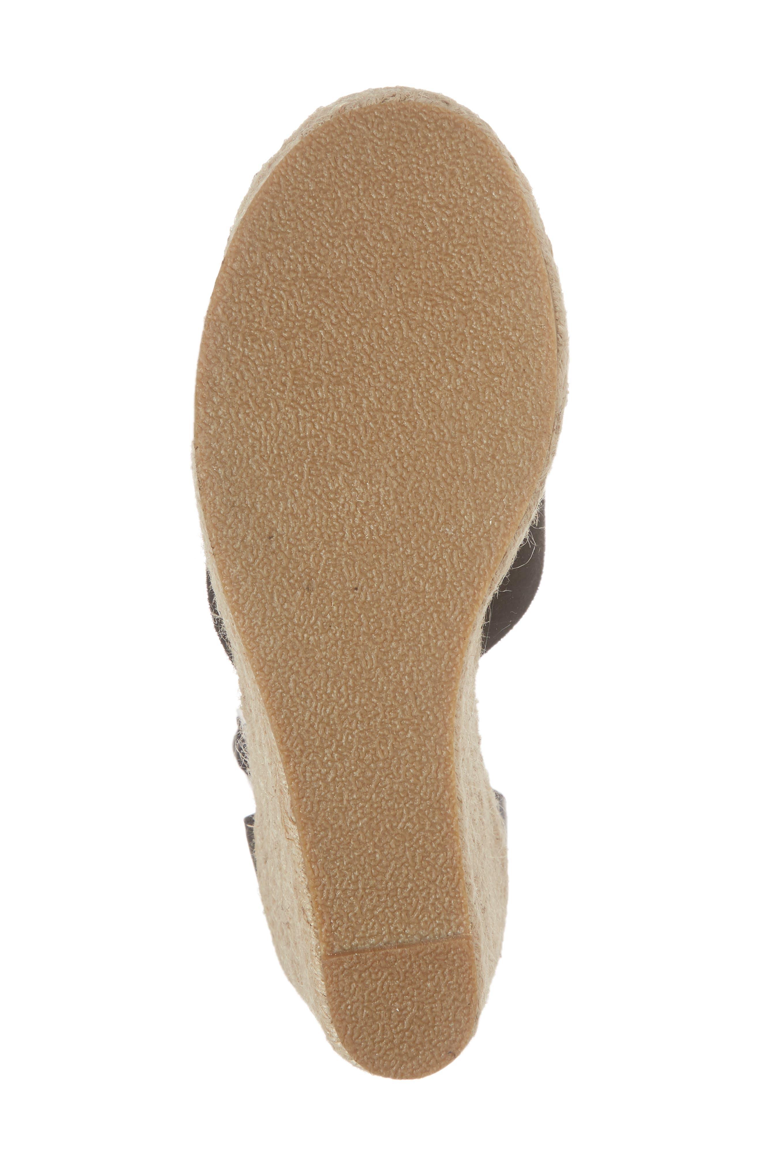 Flamingo Wedge Sandal,                             Alternate thumbnail 6, color,                             Black Suede