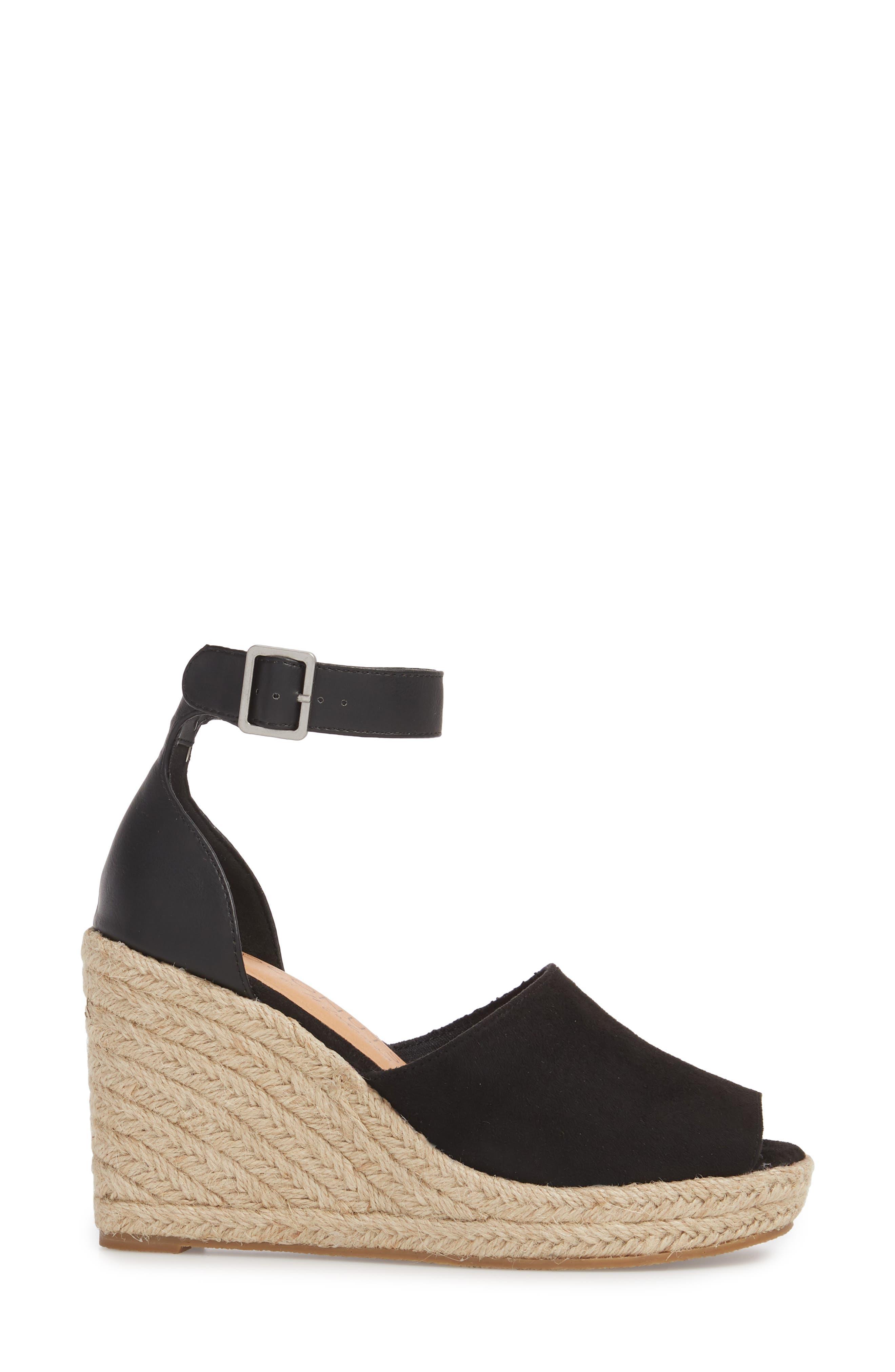 Flamingo Wedge Sandal,                             Alternate thumbnail 3, color,                             Black Suede