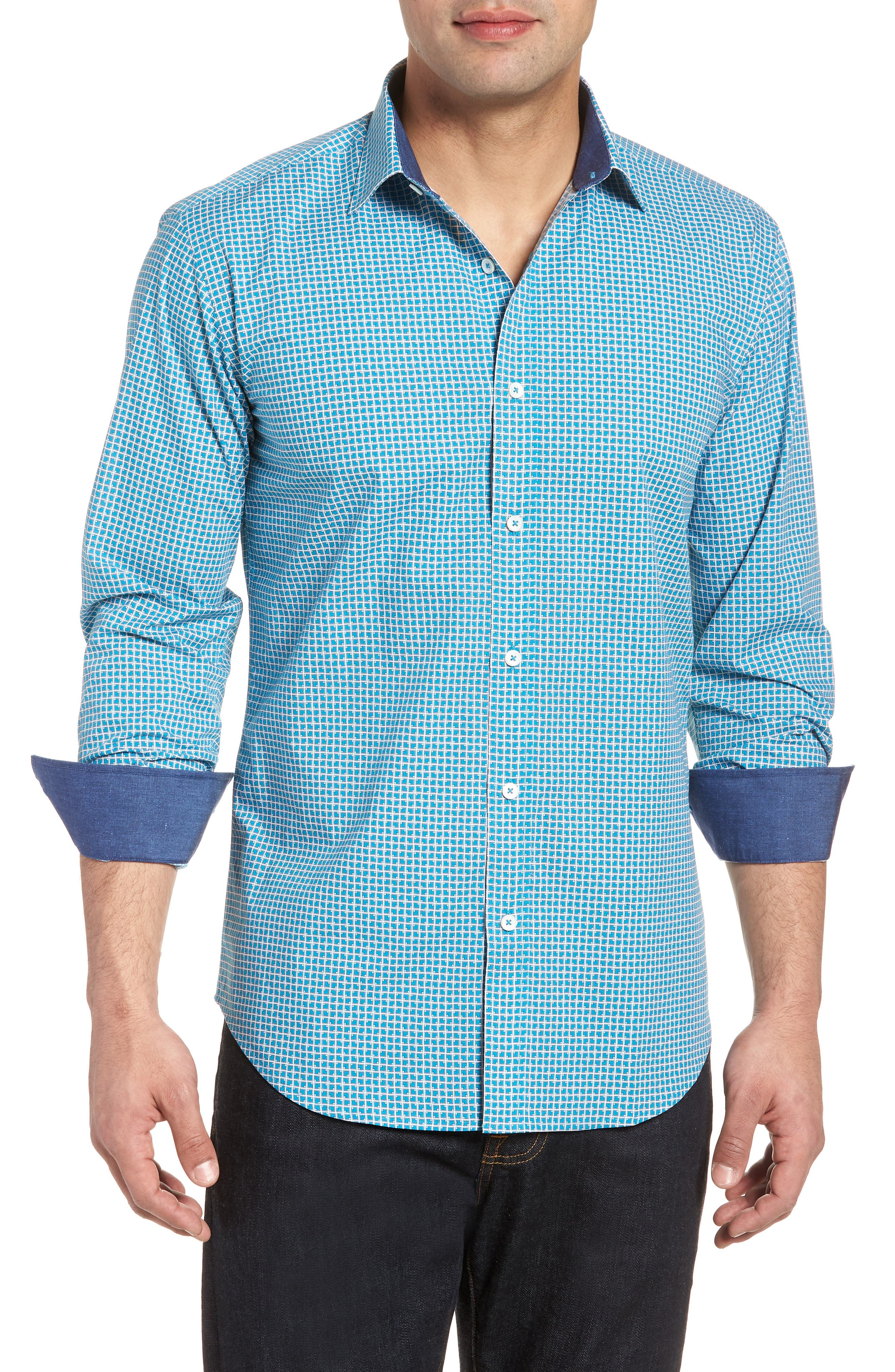 Shaped Fit Check Sport Shirt,                             Main thumbnail 1, color,                             Turquoise