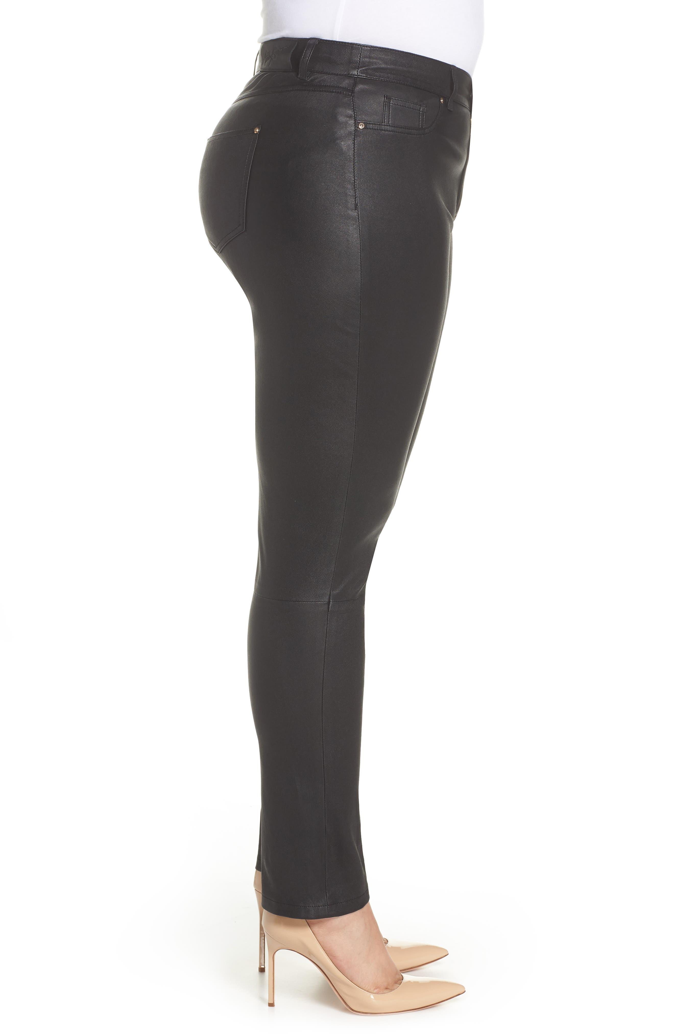 Eboli Leather Pants,                             Alternate thumbnail 3, color,                             Black