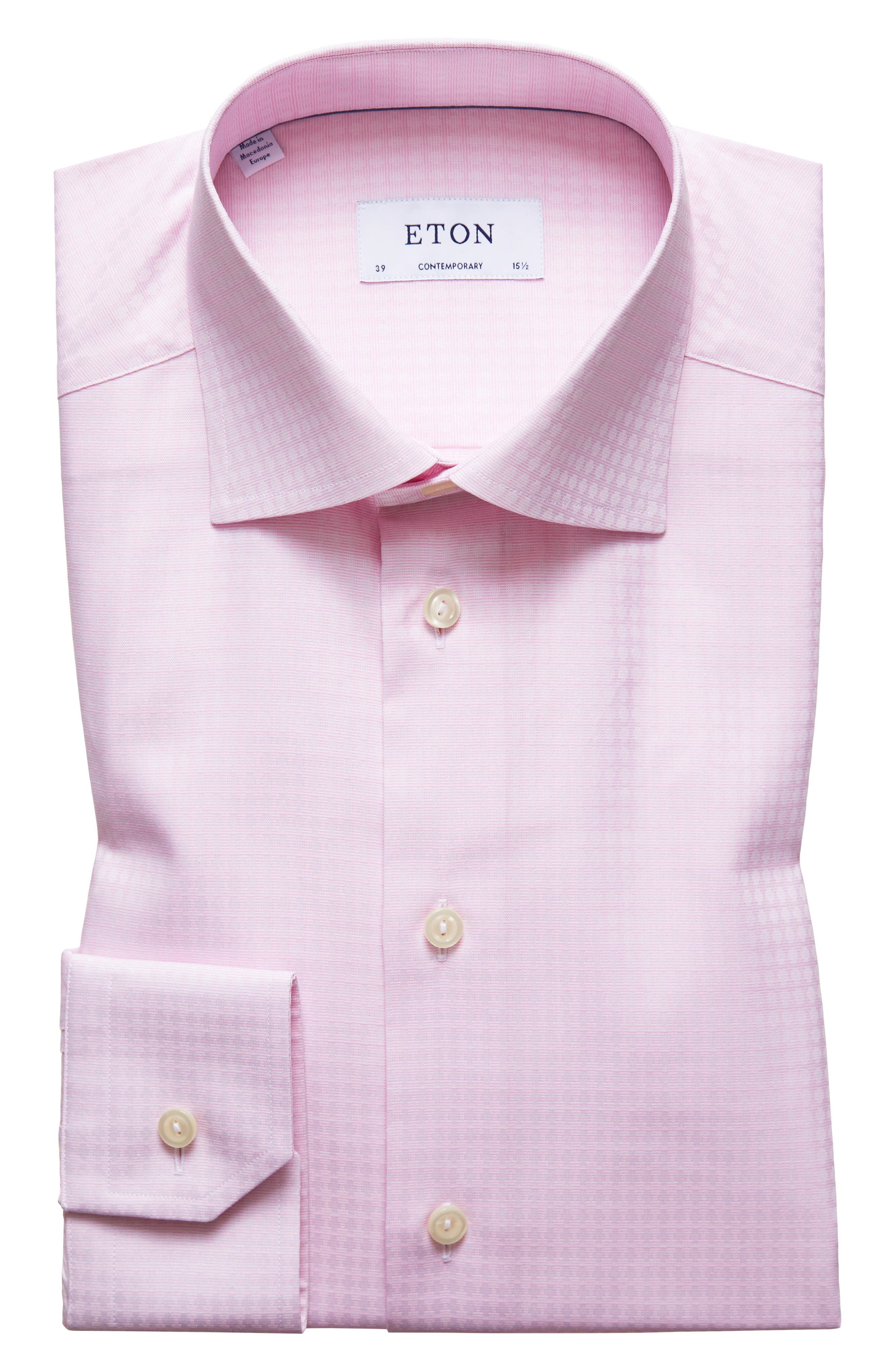 Contemporary Fit Pattern Dress Shirt,                         Main,                         color, Pink