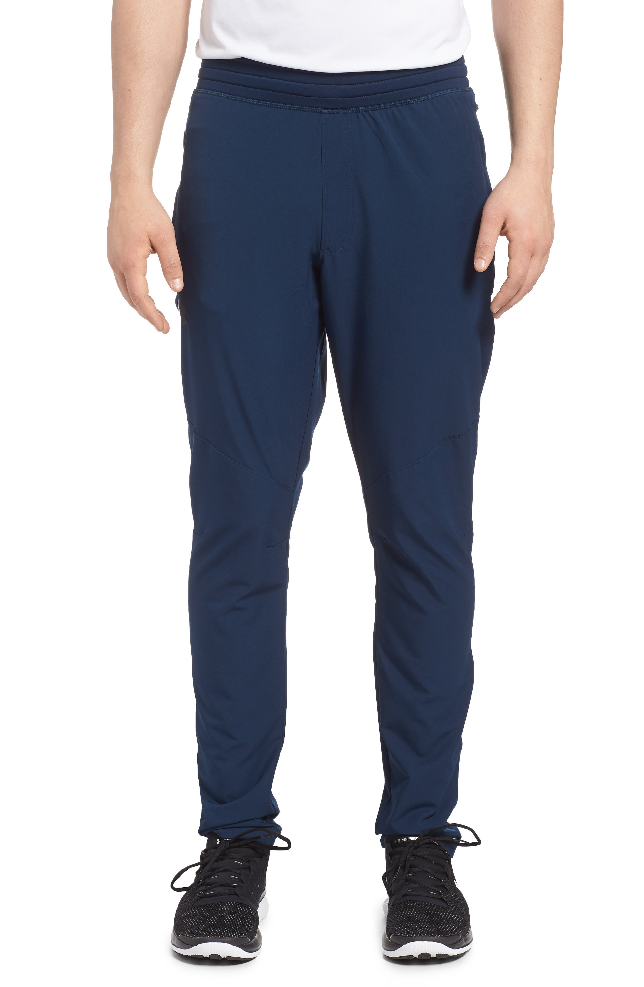 Fitted Woven Training Pants,                         Main,                         color, Academy/ Black