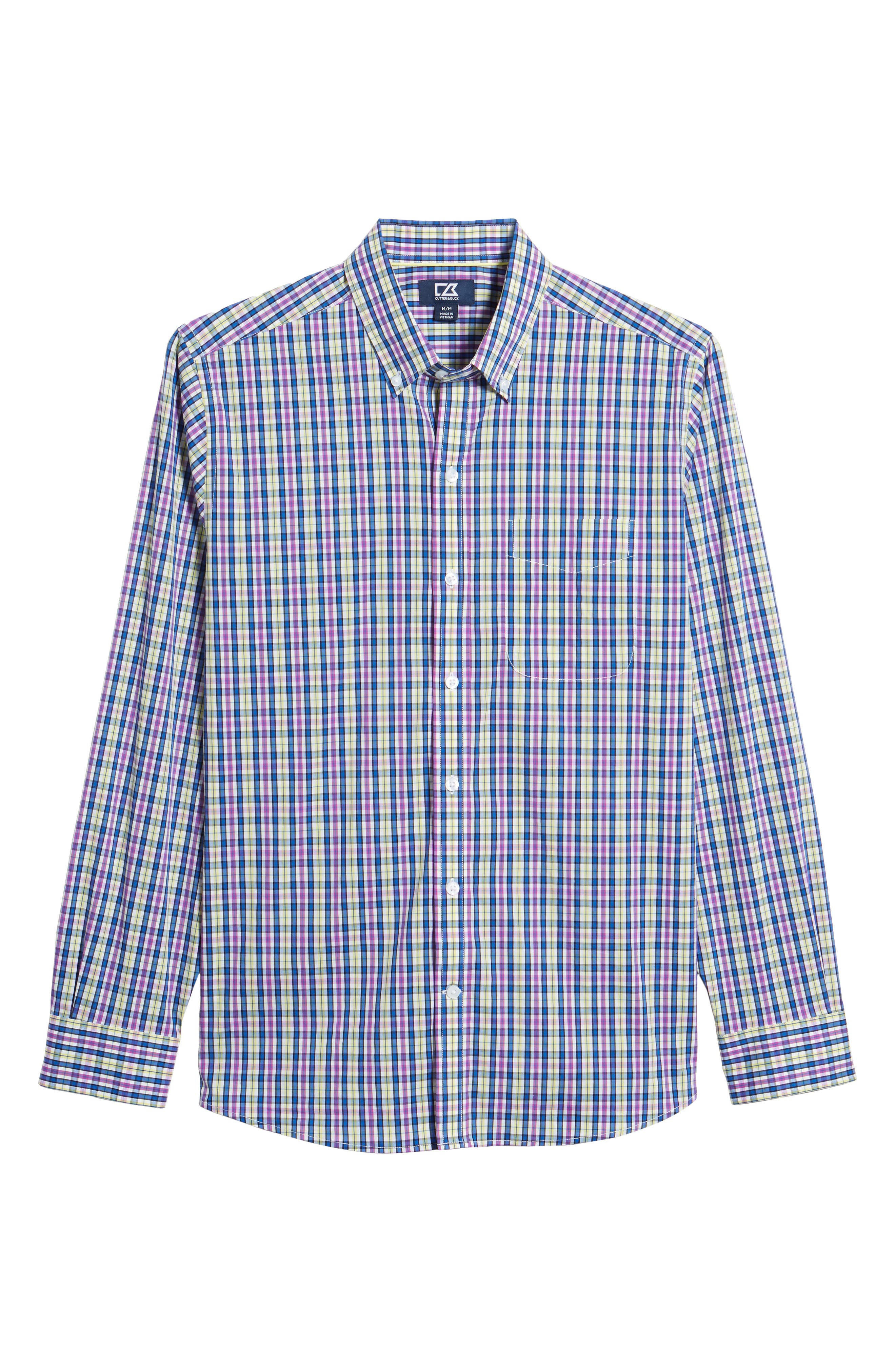 Anthony Plaid Performance Sport Shirt,                             Alternate thumbnail 6, color,                             Limelight