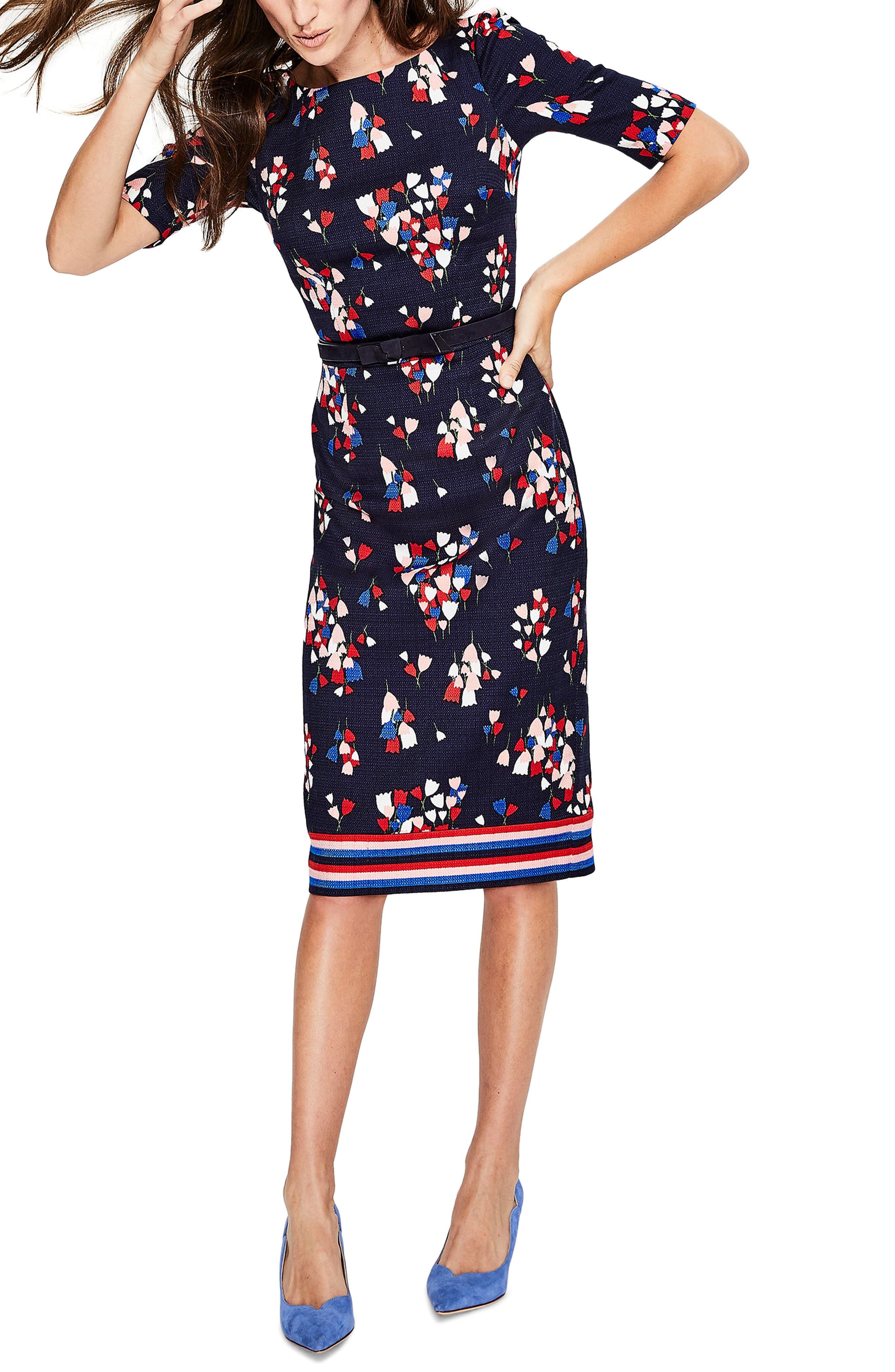 Fleur Sheath Dress,                             Main thumbnail 1, color,                             Navy/ Tulip
