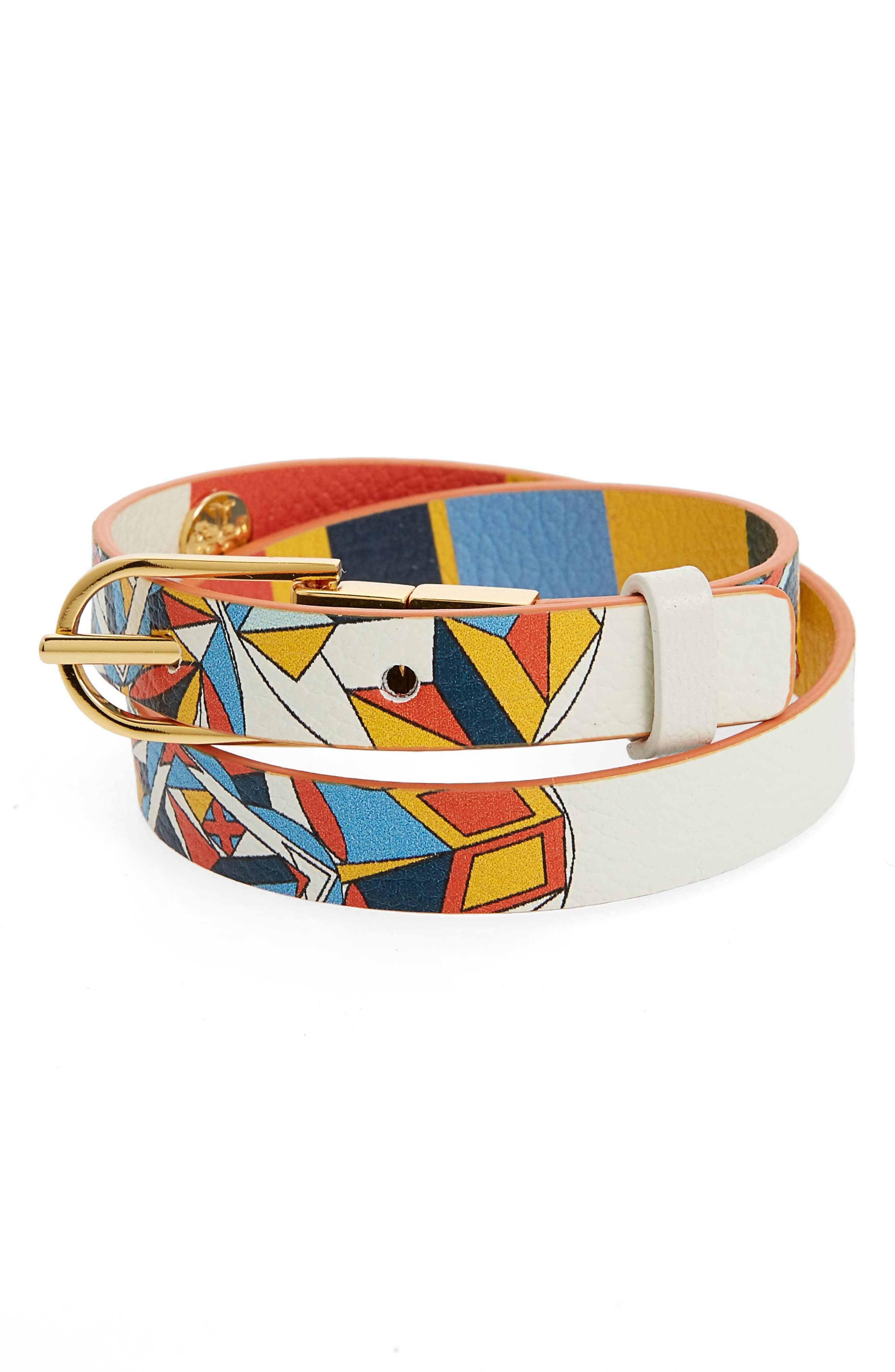 Tory Burch Reversible Fl Print Leather Wrap Bracelet In Kaleidescope