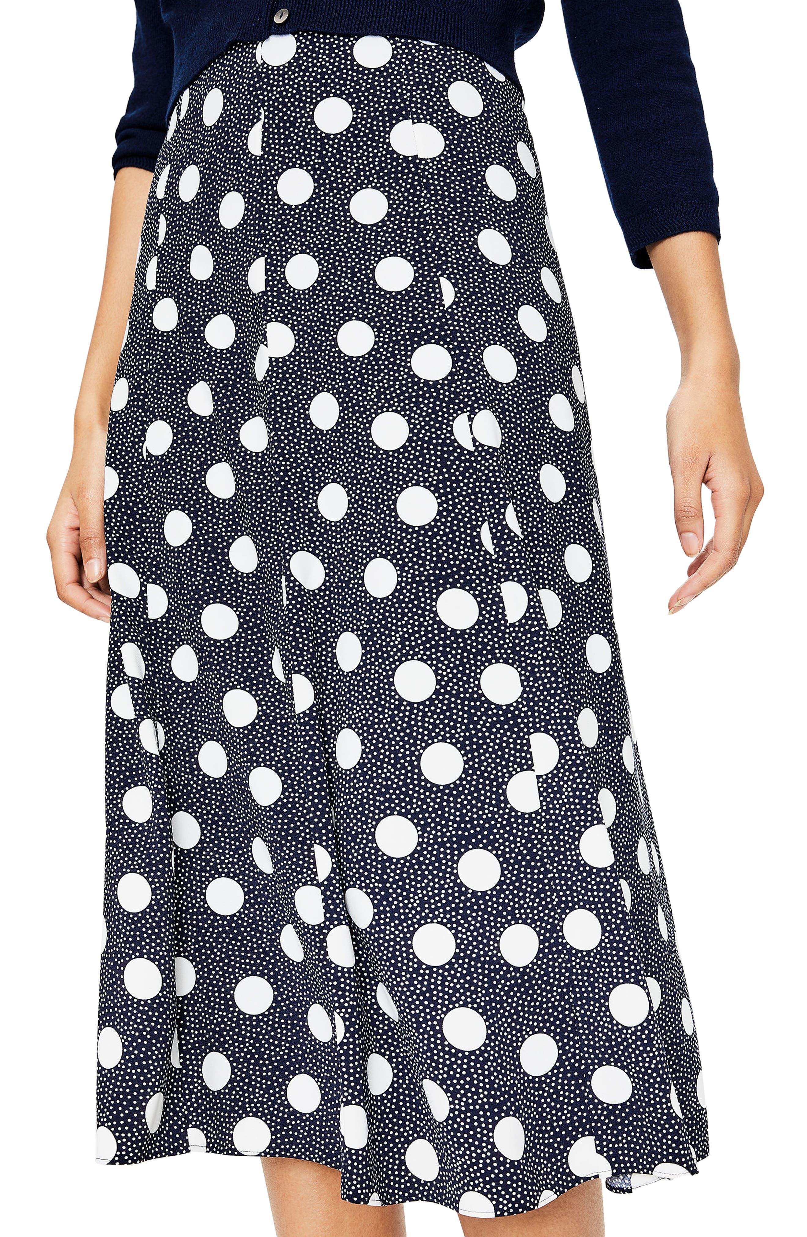 Floaty Polka Dot Midi Skirt,                             Alternate thumbnail 3, color,                             Navy Spot On Spot