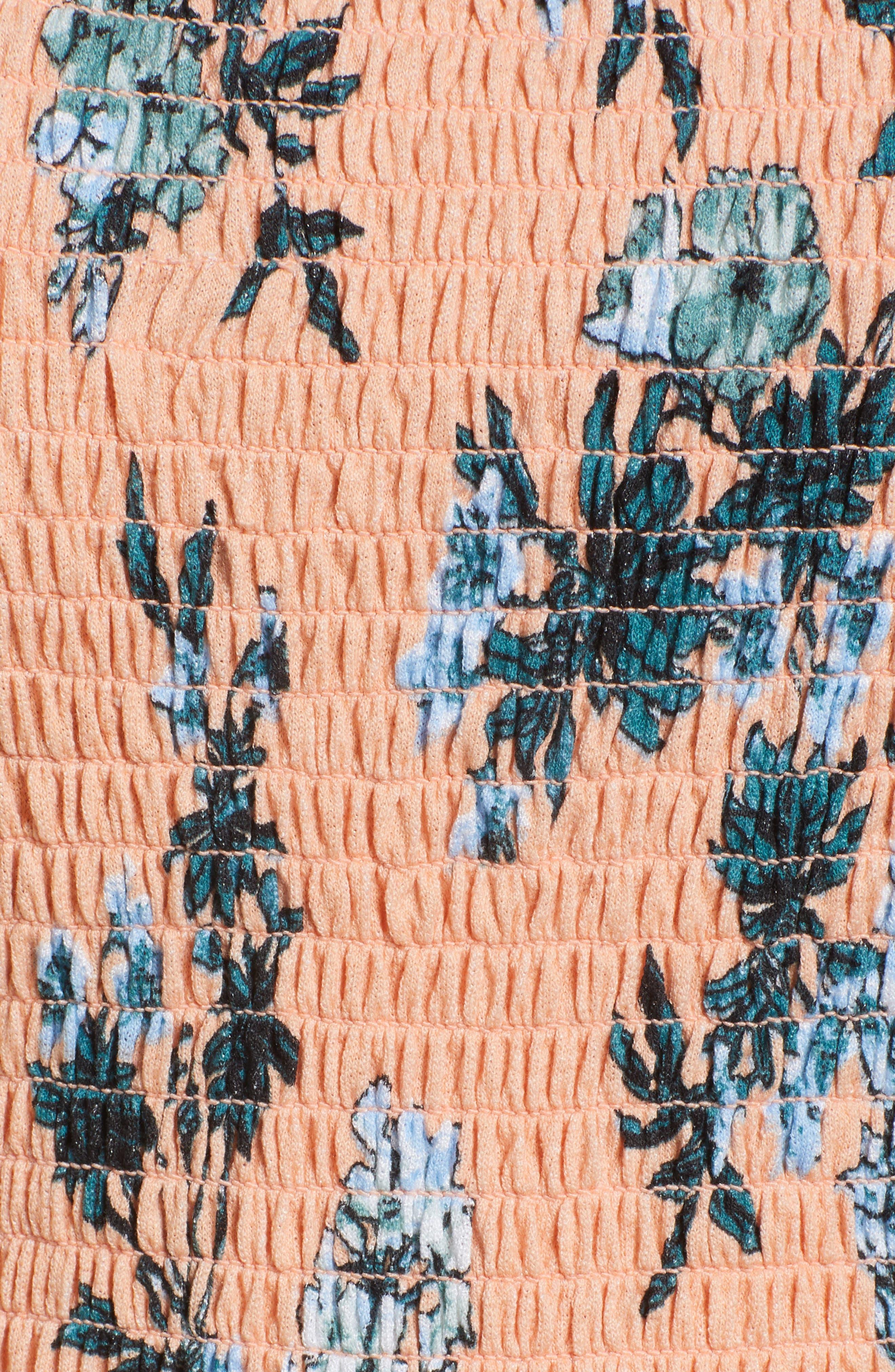 Smocked Ruffle Hem Jumpsuit,                             Alternate thumbnail 5, color,                             Pink Coho Fresh Blooms